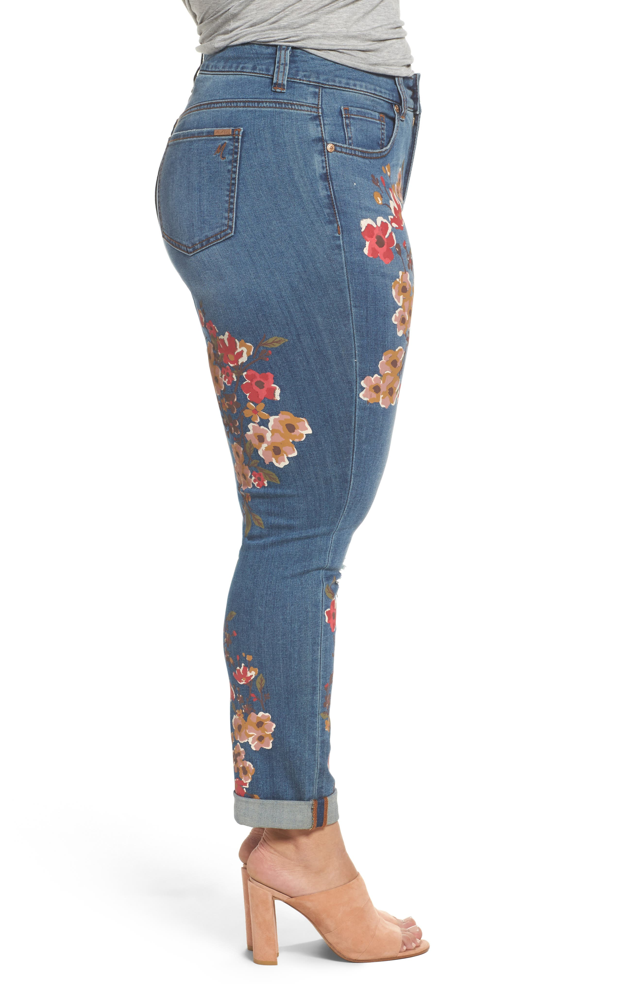 Painted Flowers Skinny Jeans,                             Alternate thumbnail 3, color,                             Destiny