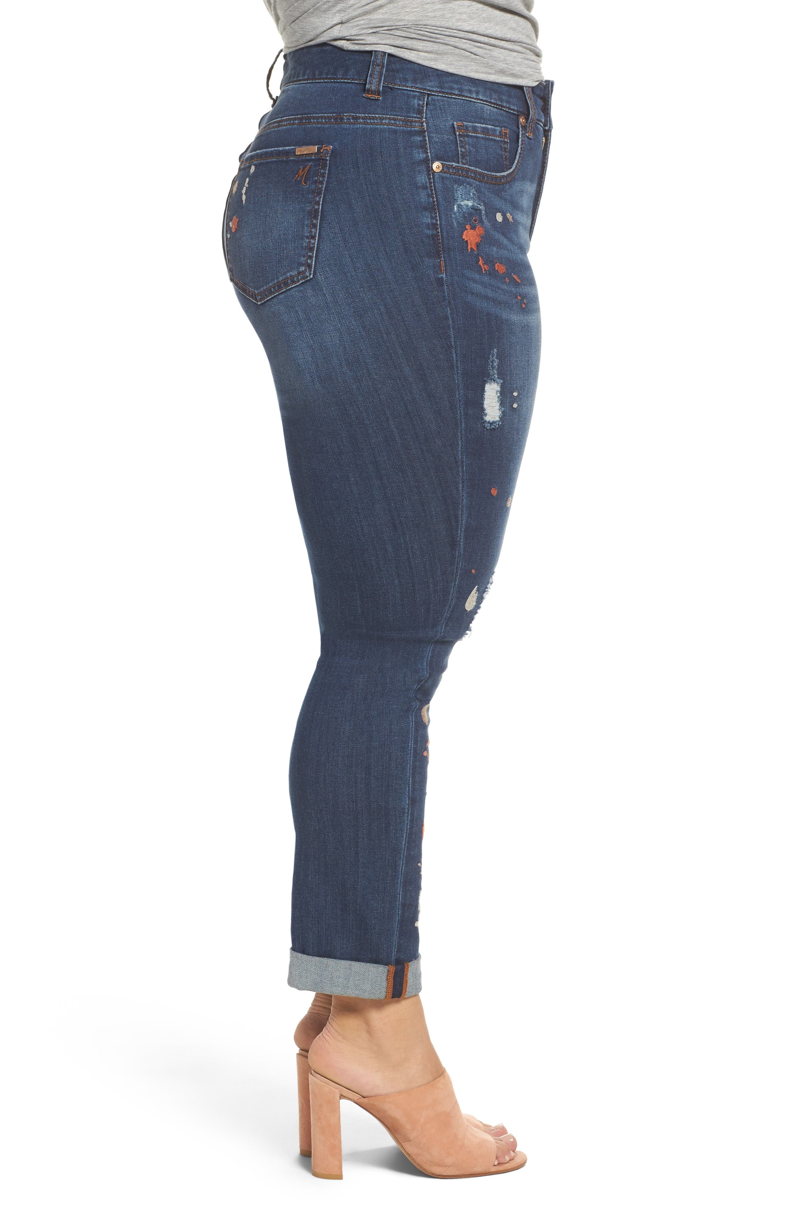 Alternate Image 3  - Melissa McCarthy Seven7 Paint Splatter Stretch Skinny Jeans (Plus Size)
