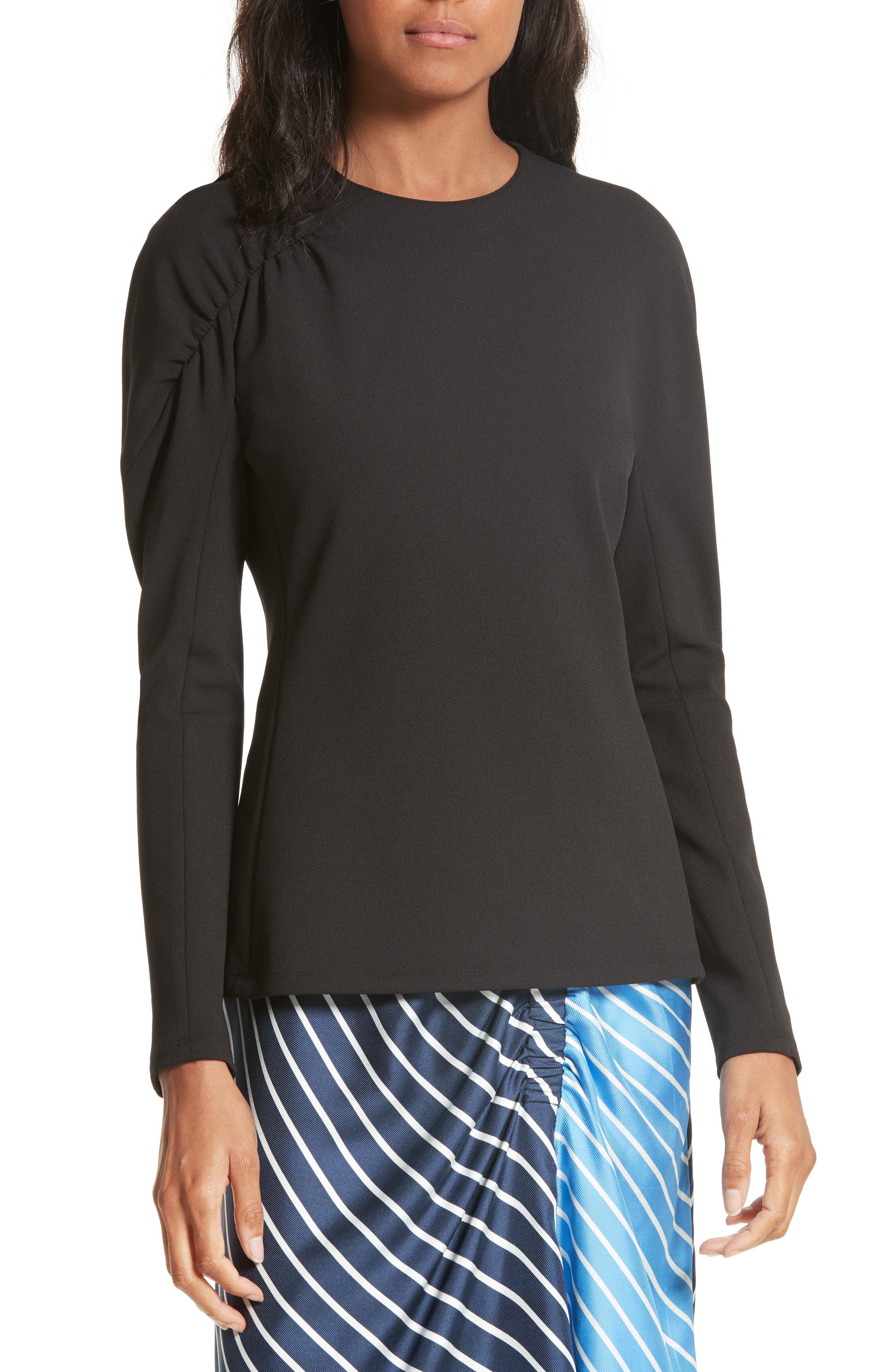Shirred Stretch Crepe Top,                         Main,                         color, Black