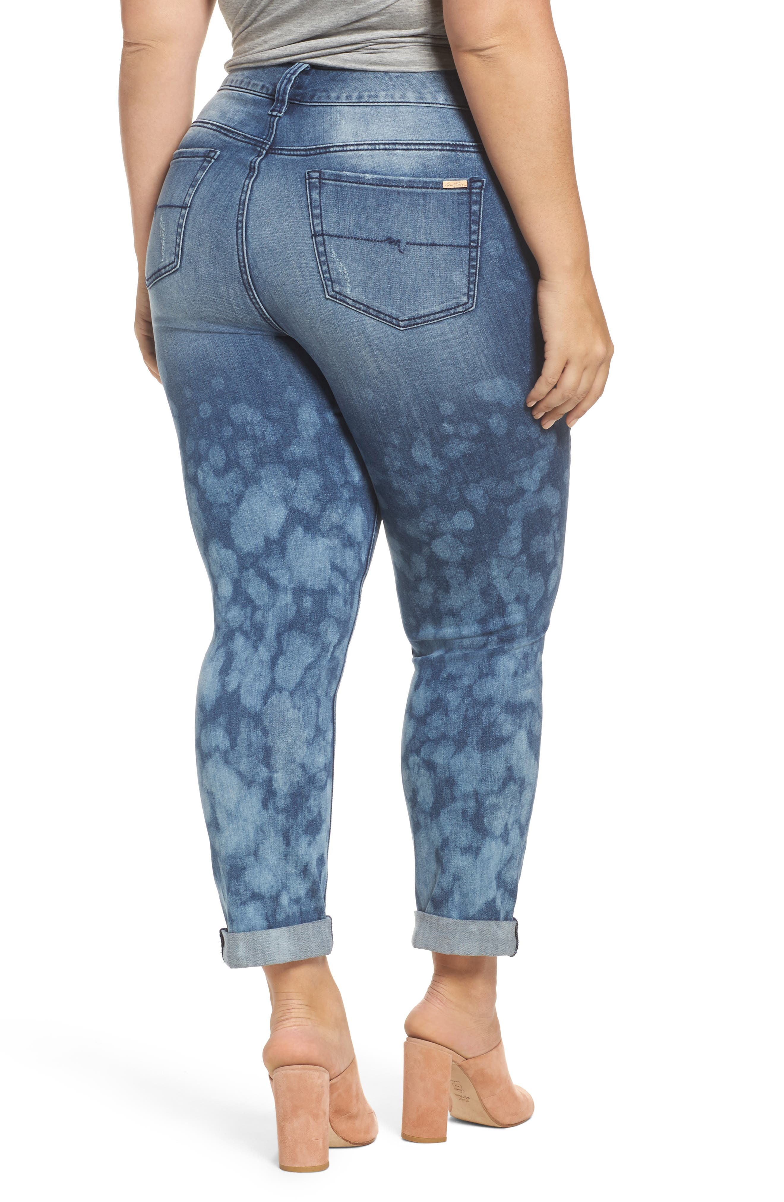 Alternate Image 2  - Melissa McCarthy Seven7 Destructed Roll Cuff Skinny Jeans (Plus Size)