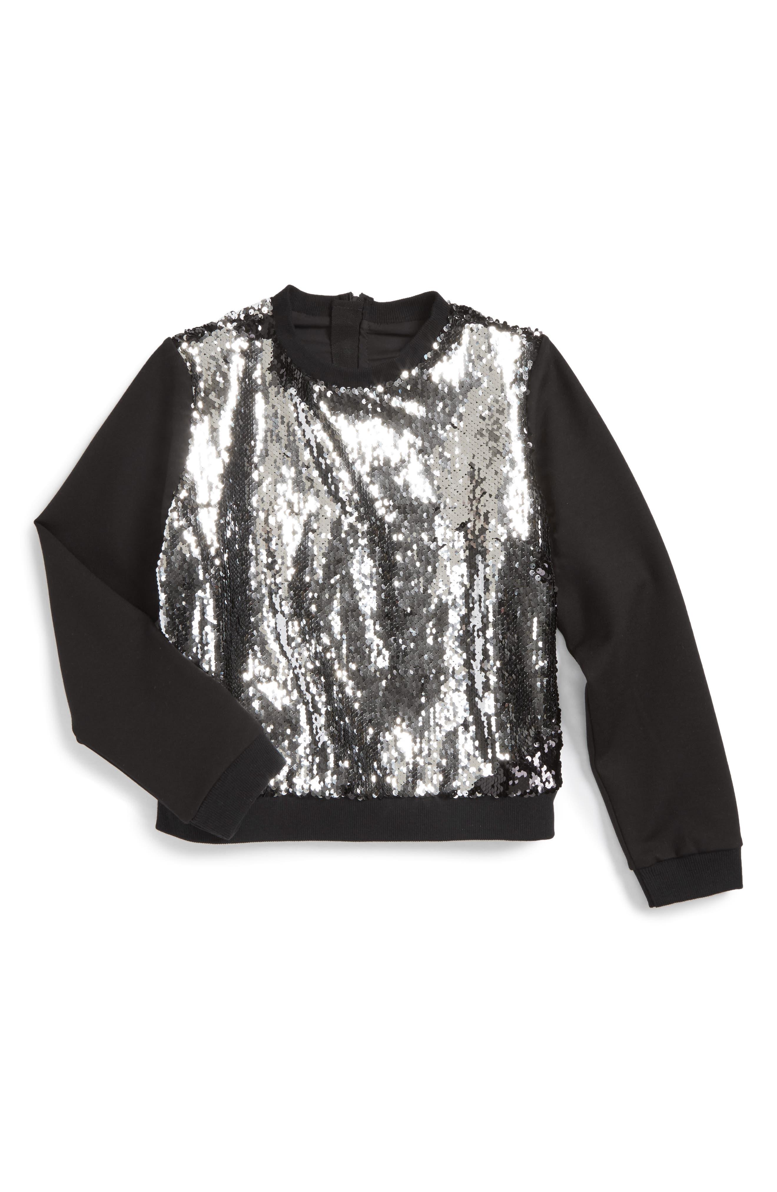 Sequin Sweatshirt,                             Main thumbnail 1, color,                             Silver/ Black
