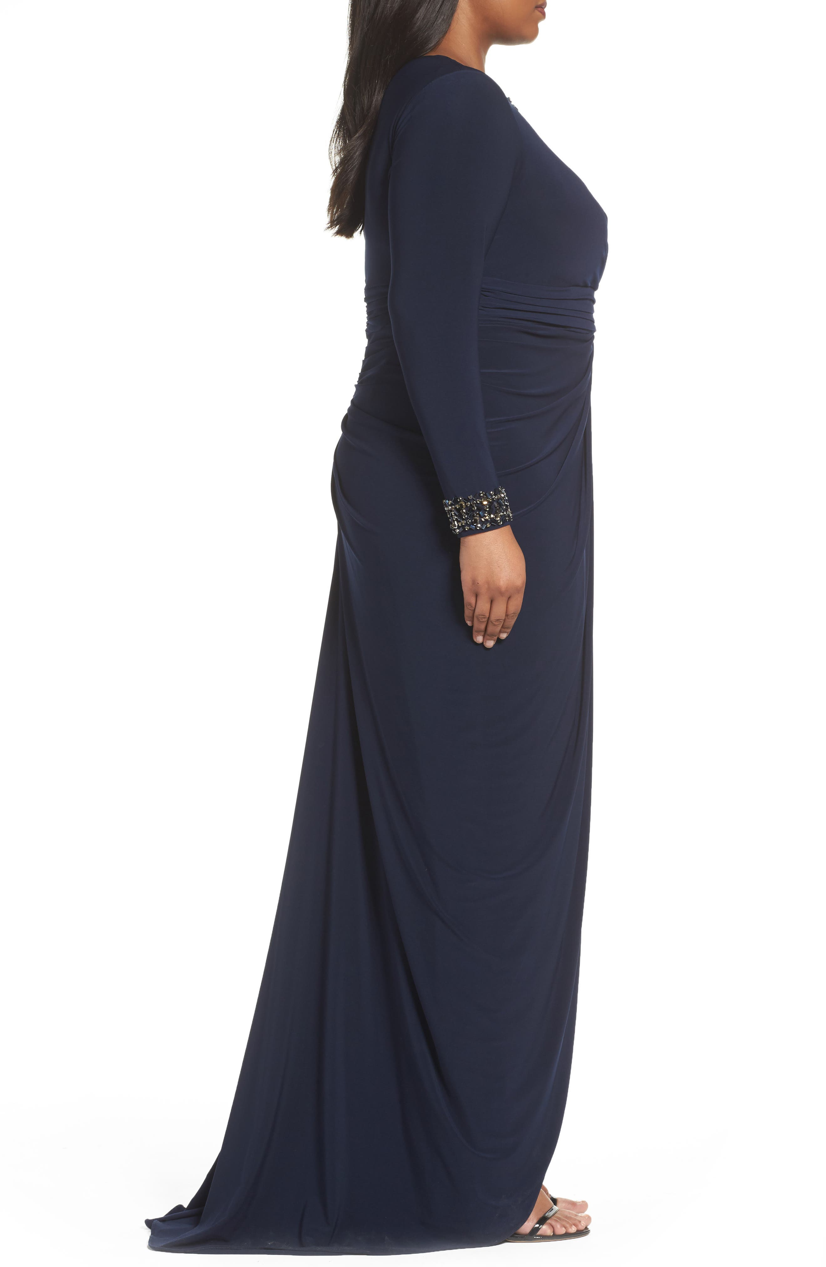 Wrap Front Jersey Gown,                             Alternate thumbnail 3, color,                             Midnight
