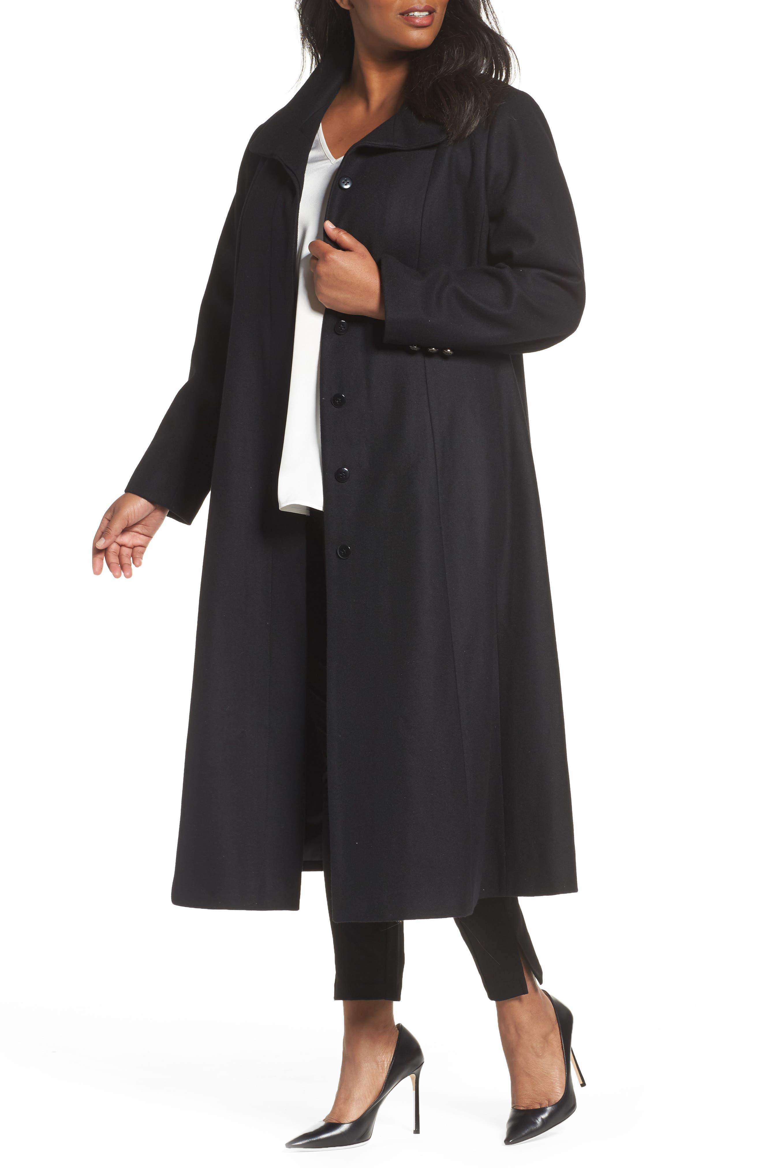 Full Length Wool Blend Coat,                         Main,                         color, Black