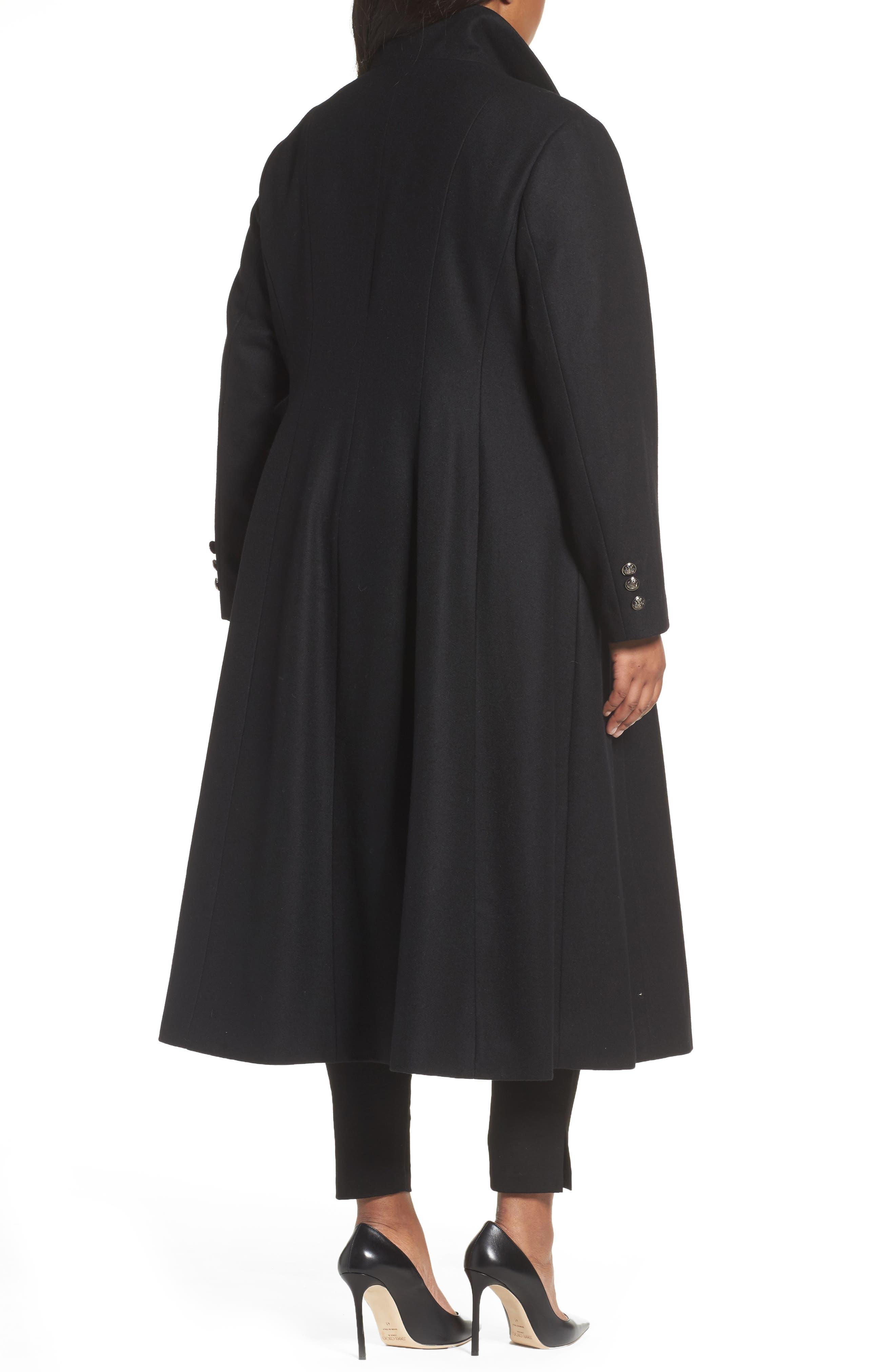 Full Length Wool Blend Coat,                             Alternate thumbnail 2, color,                             Black