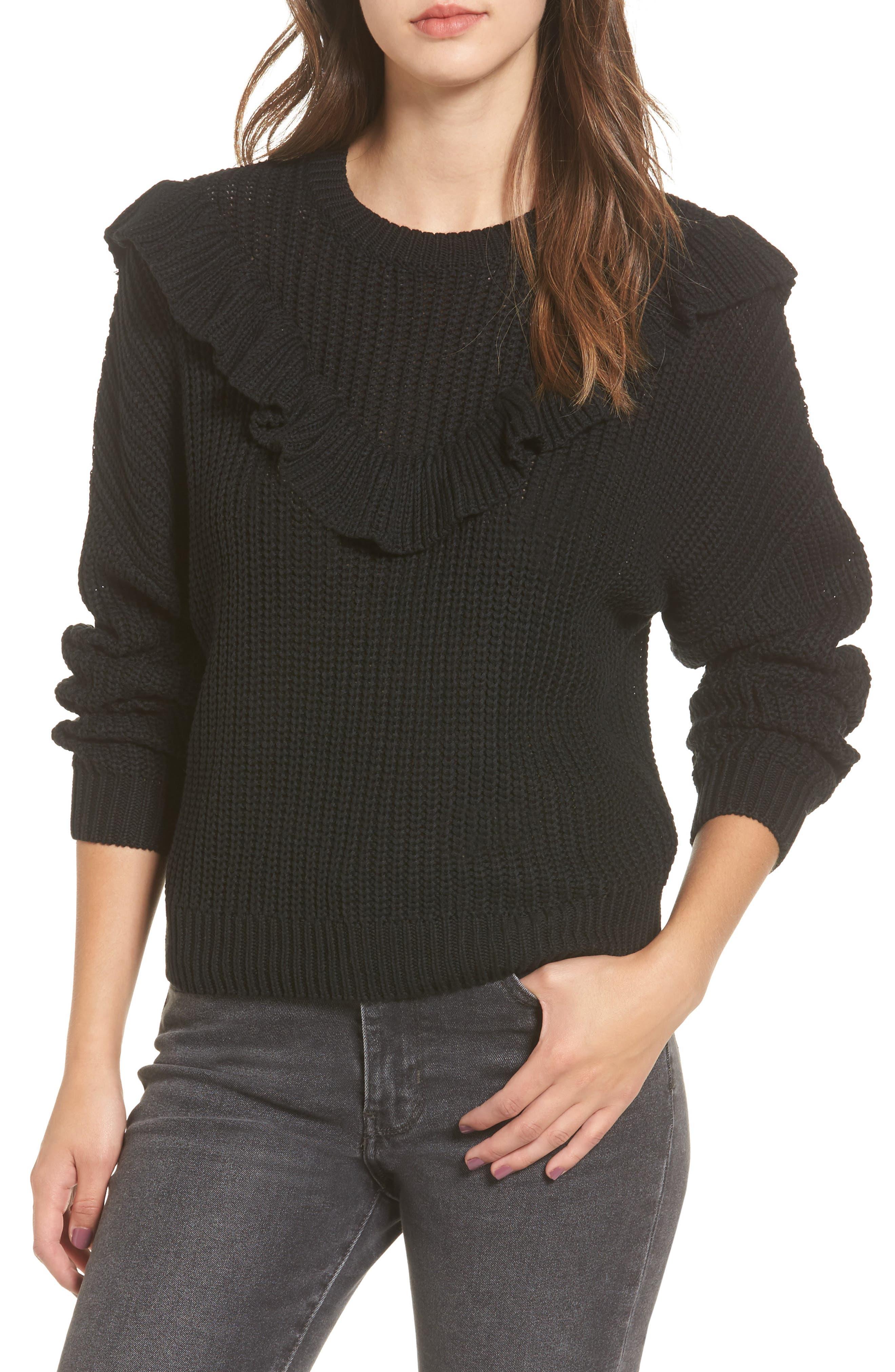 Ruffle Yoke Sweater,                         Main,                         color, Black Of Night