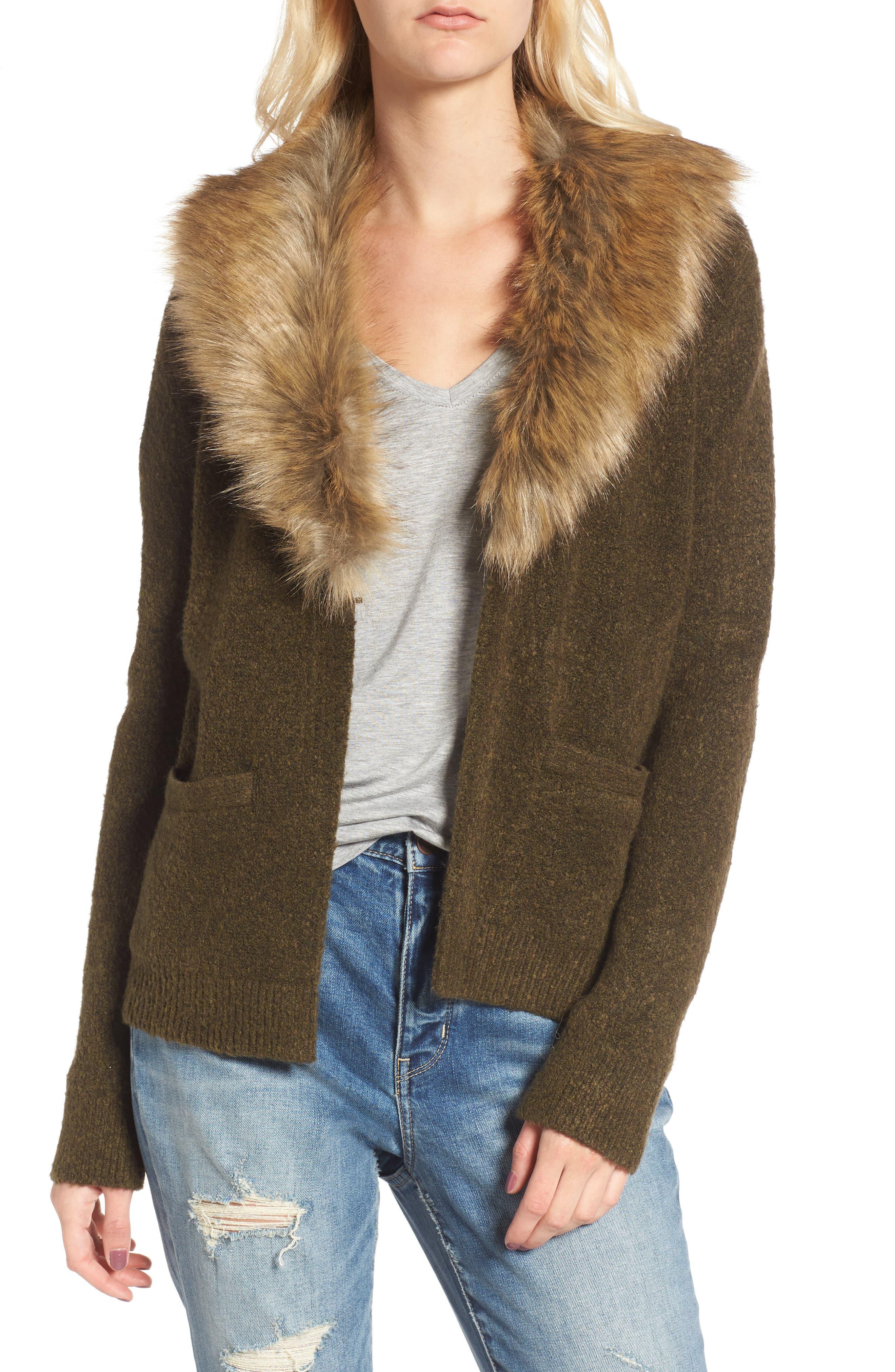 Faux Fur Collar Cardigan,                             Main thumbnail 1, color,                             Olive Tree Rainbow Multi