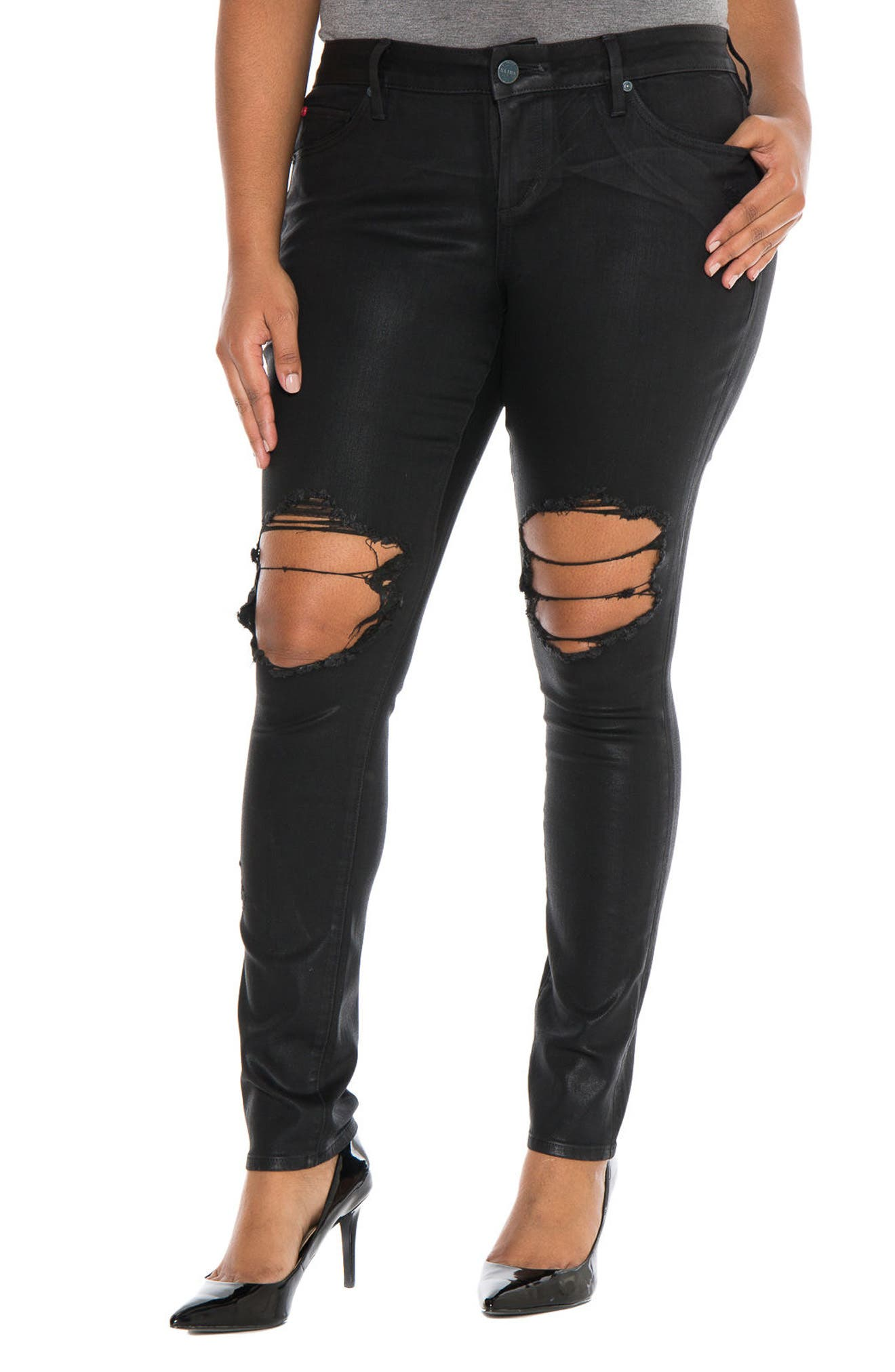 SLINK Jeans Destroyed Coated Skinny Jeans (Silvia) (Plus Size)