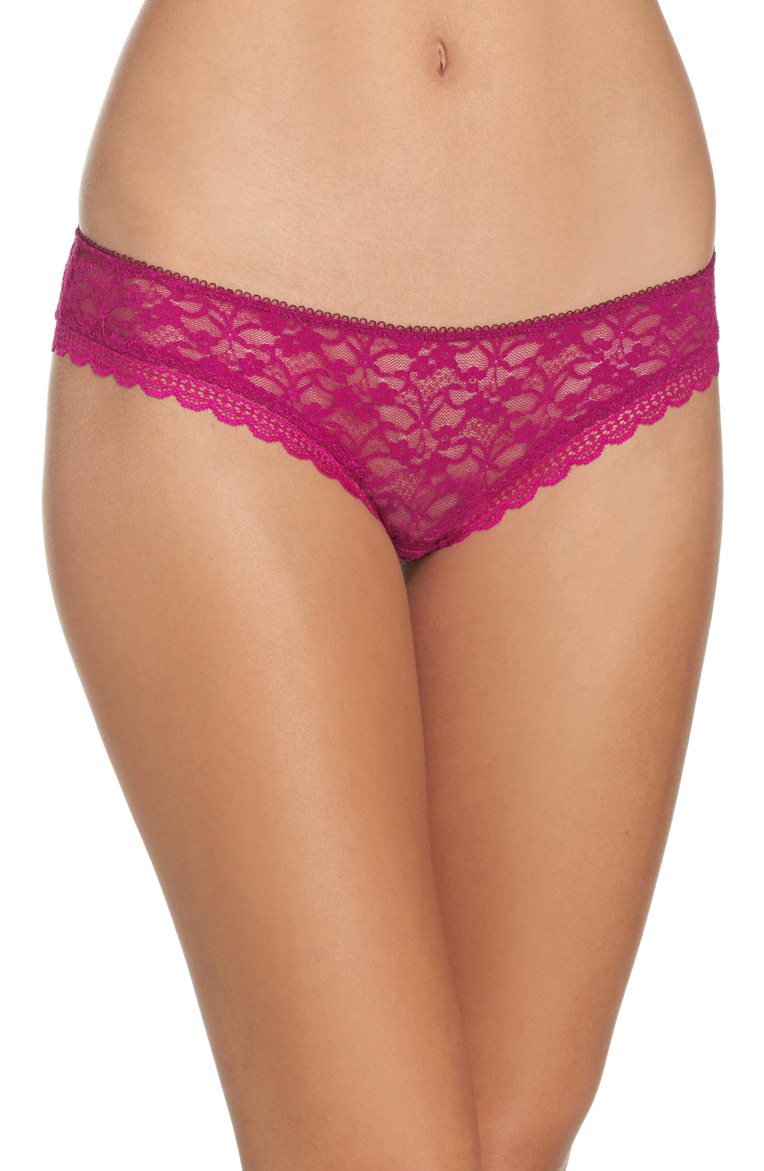 Intimately FP Lace Hipster Briefs,                         Main,                         color, Dark Pink