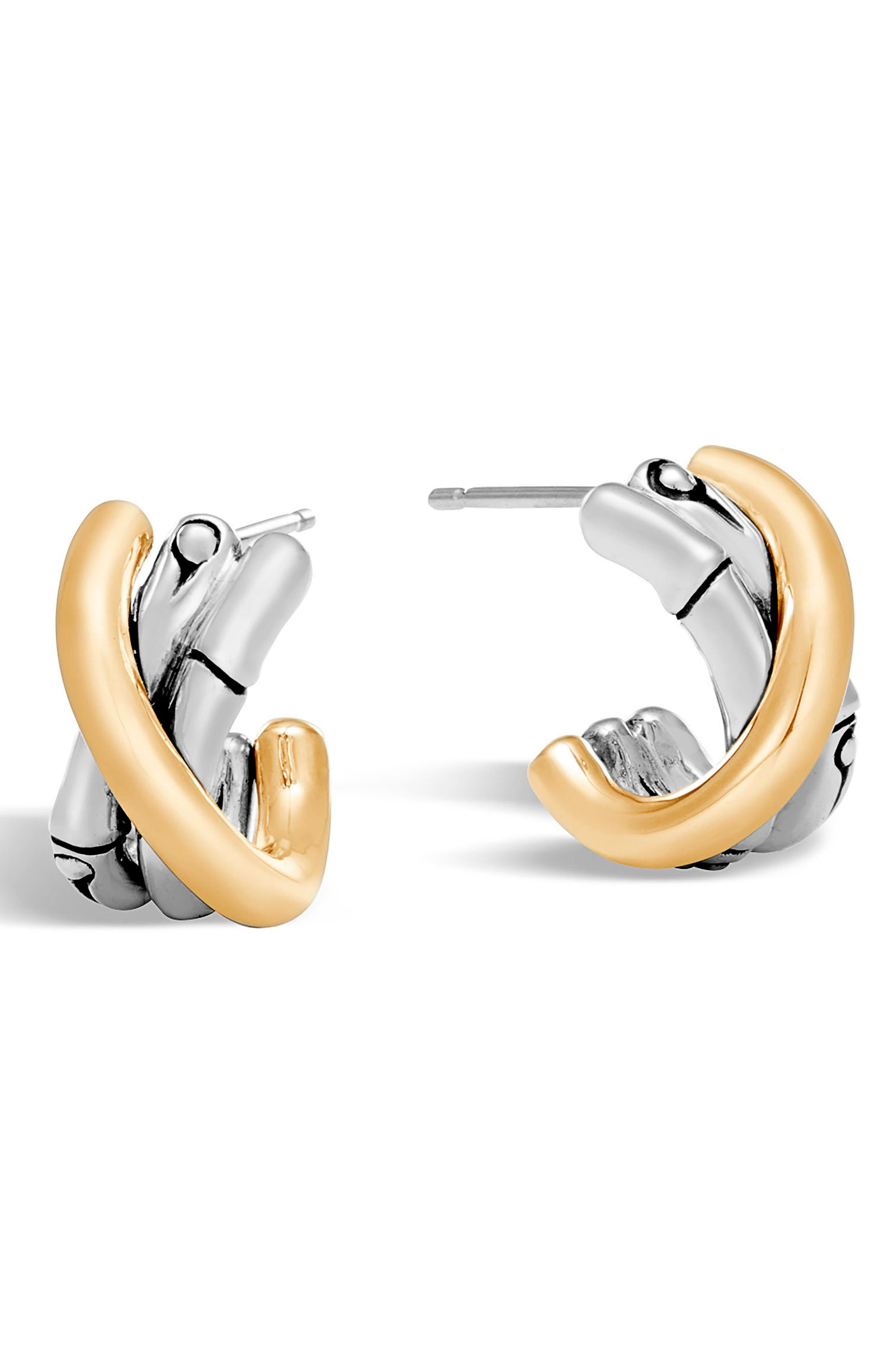 Bamboo Stud Earrings,                         Main,                         color, Silver/ Gold