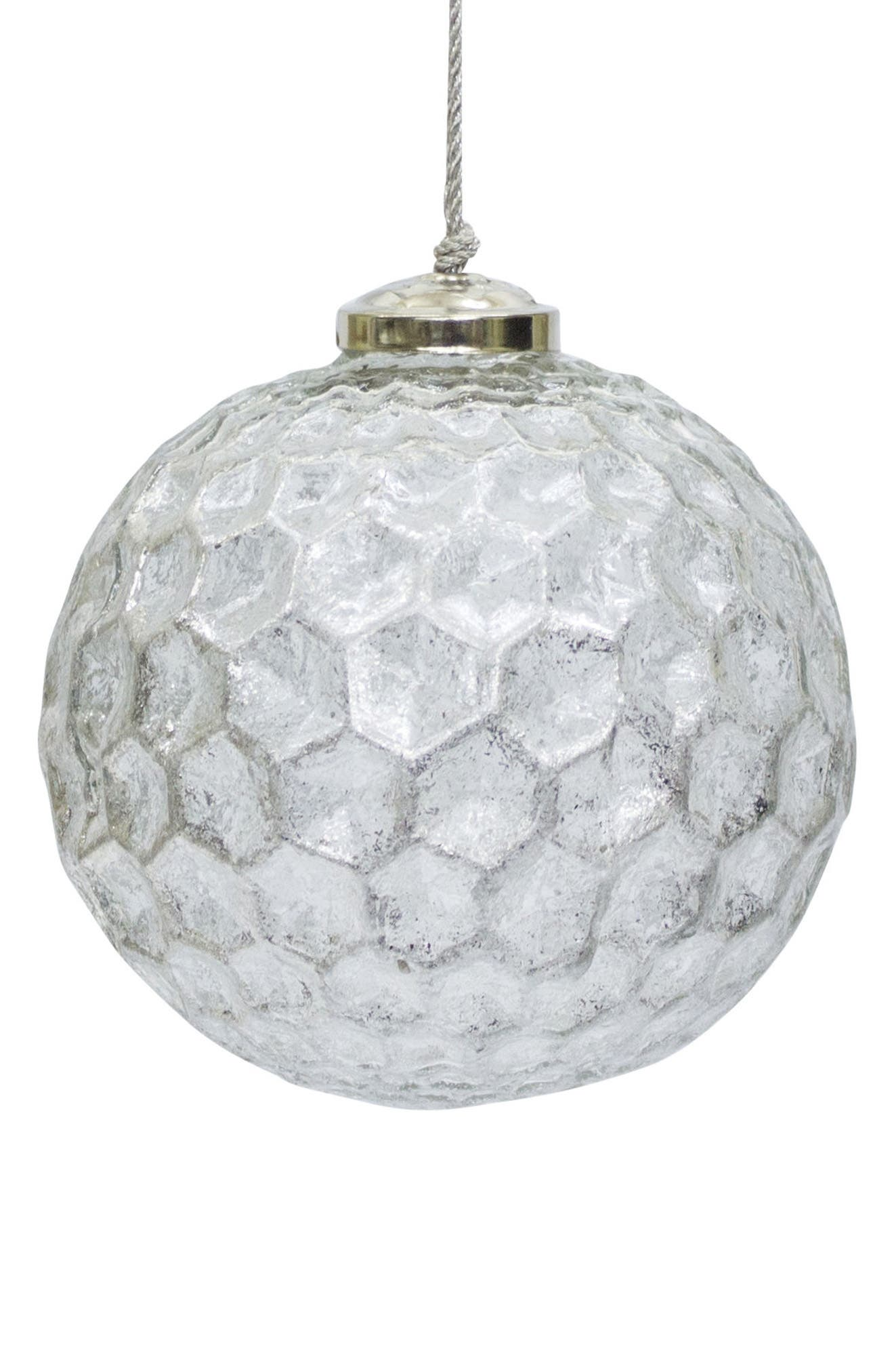 Dimpled Ball Ornament,                         Main,                         color, Grey