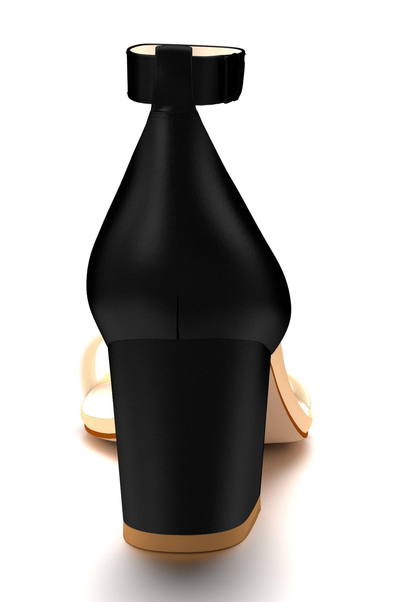 Ankle Strap Block Heel Sandal,                             Alternate thumbnail 3, color,                             Black Leather