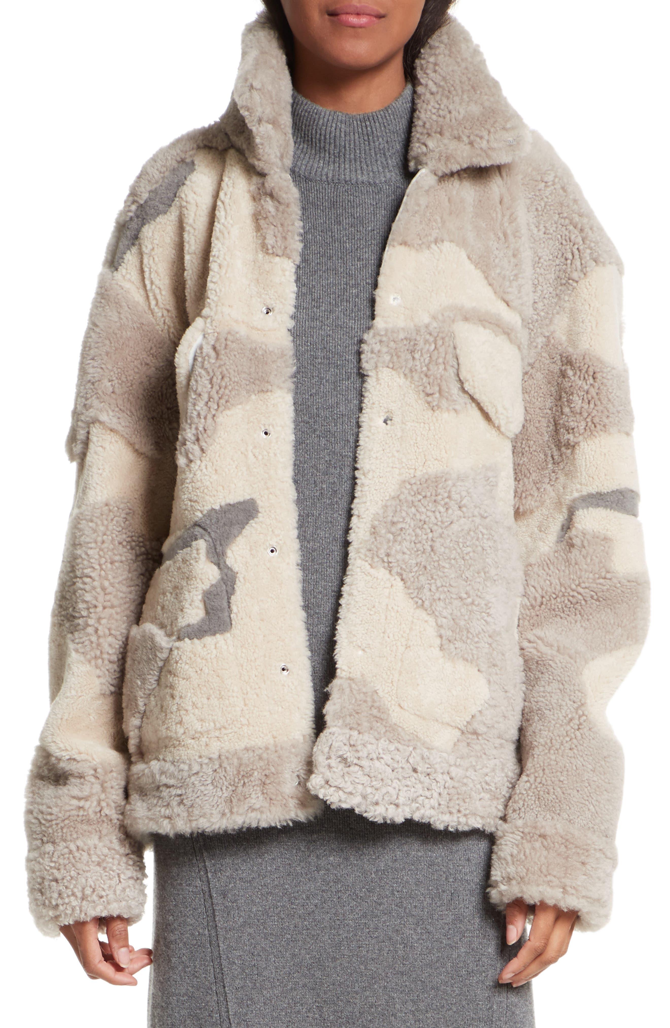 Jake Camo Genuine Shearling Jacket,                         Main,                         color, Ivory/ Beige