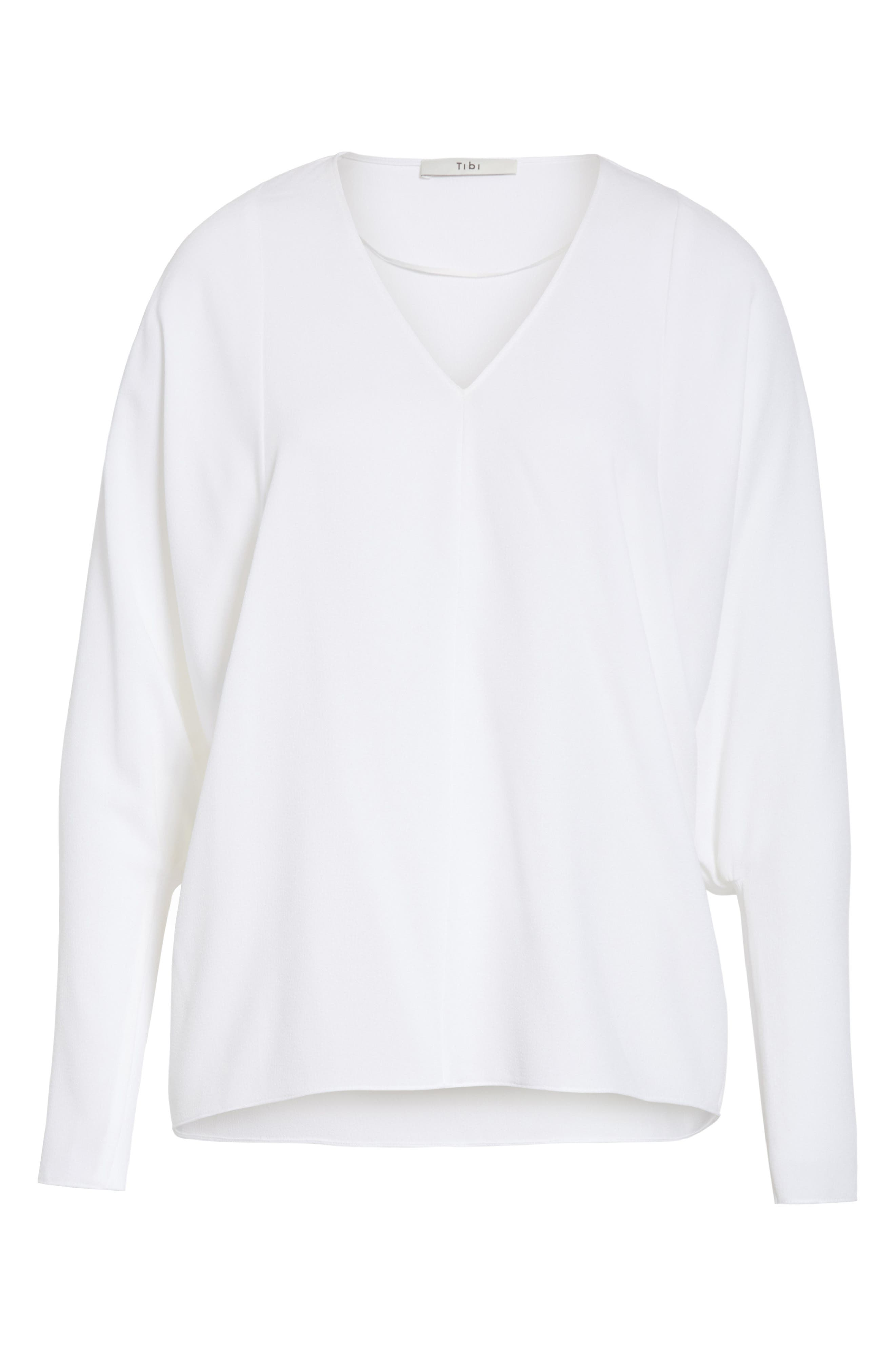 Dolman Sleeve Crepe Top,                             Alternate thumbnail 6, color,                             White