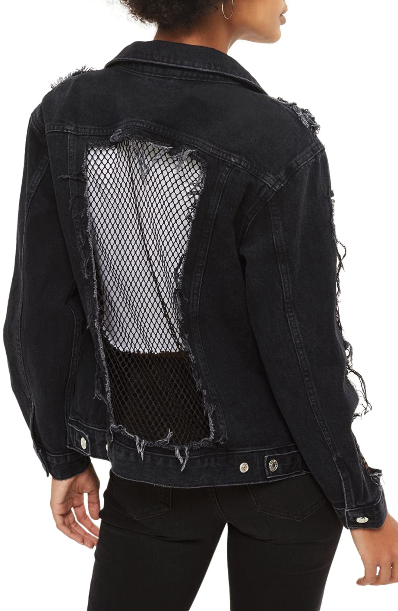 Alternate Image 2  - Topshop Fishnet Detail Oversize Denim Jacket