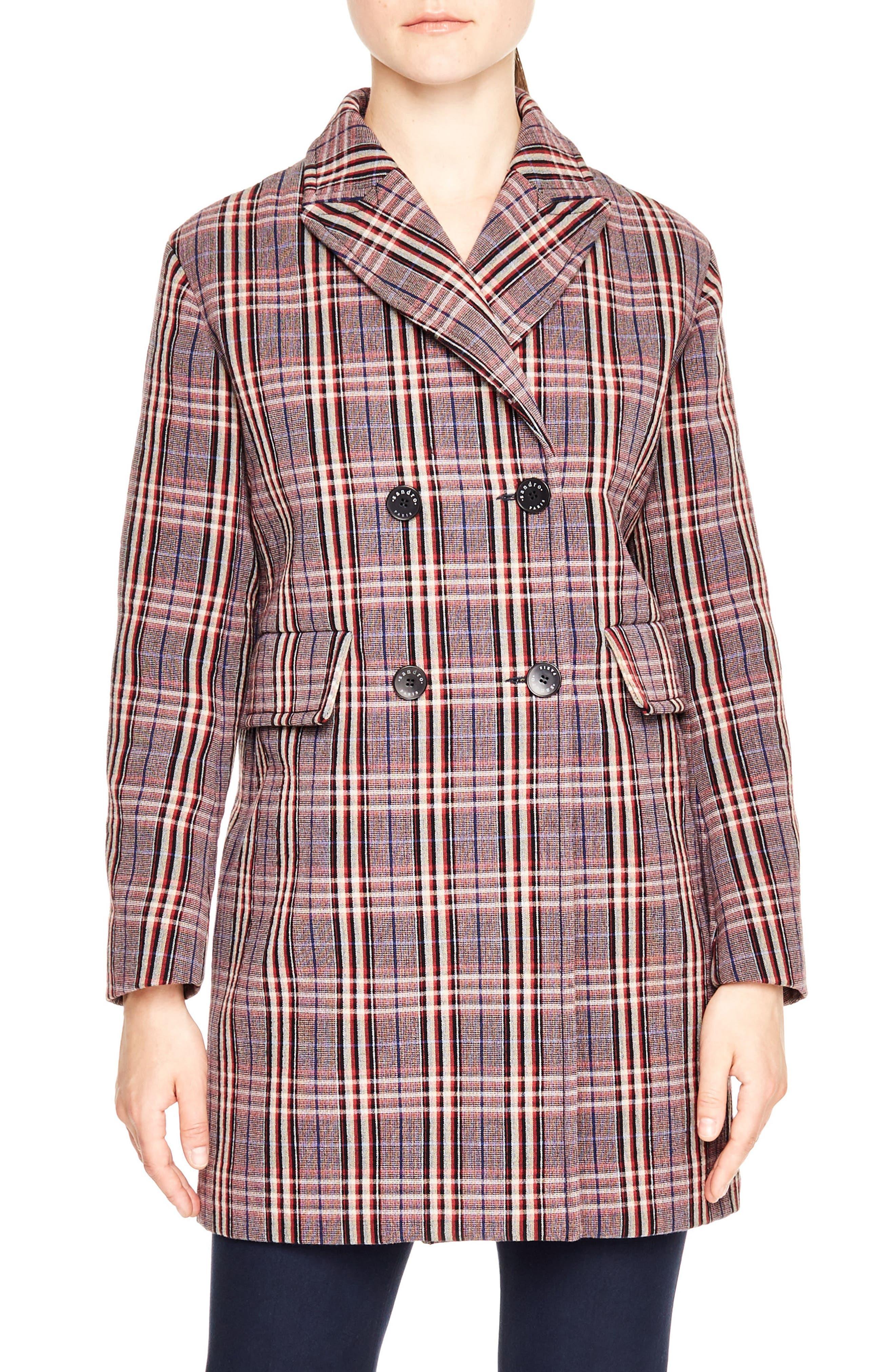 SANDRO Double Breasted Plaid Coat