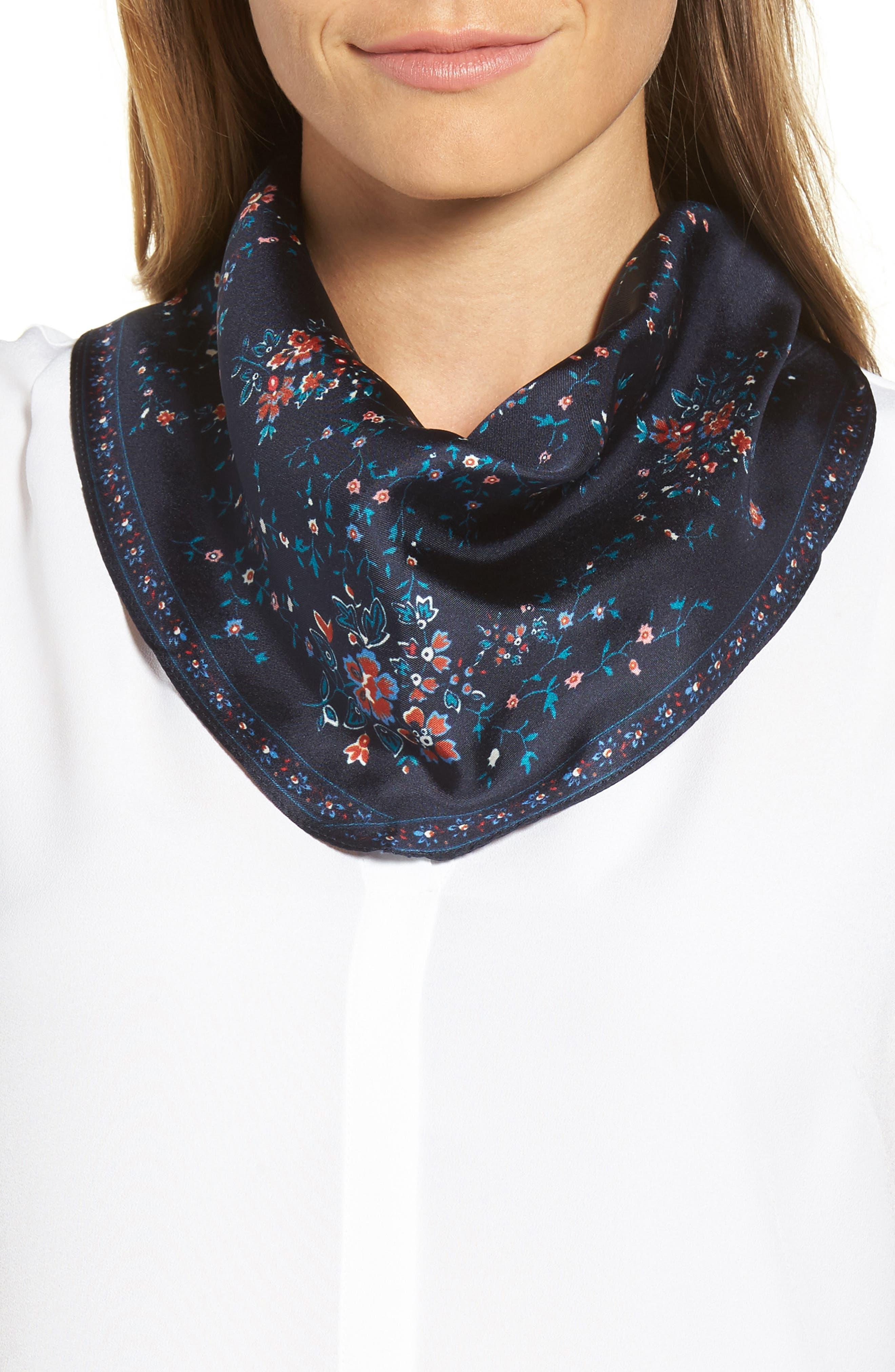 Echo Floral Lace Silk Diamond Scarf