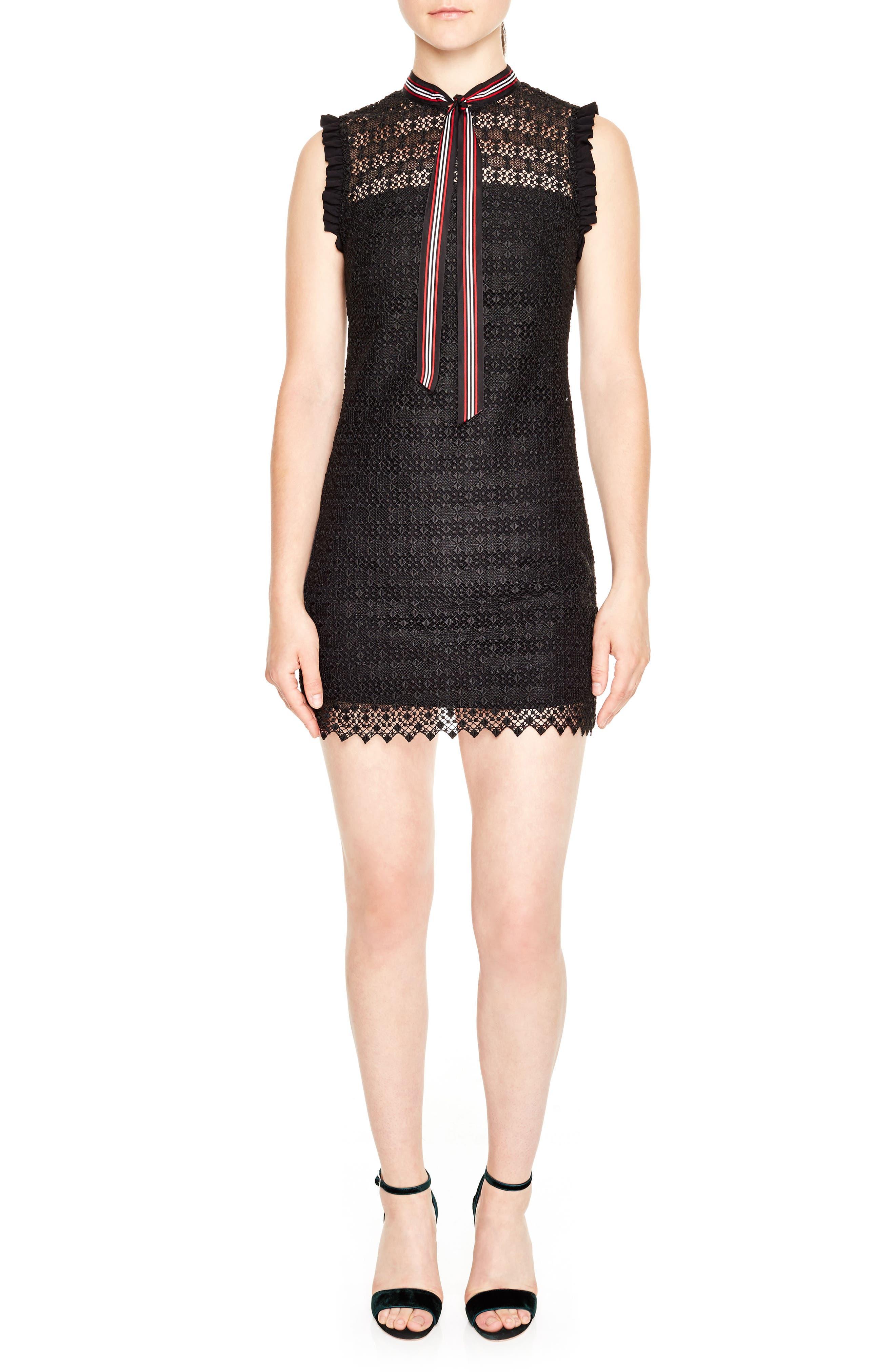 Tie Neck Lace Sheath Dress,                         Main,                         color, Black