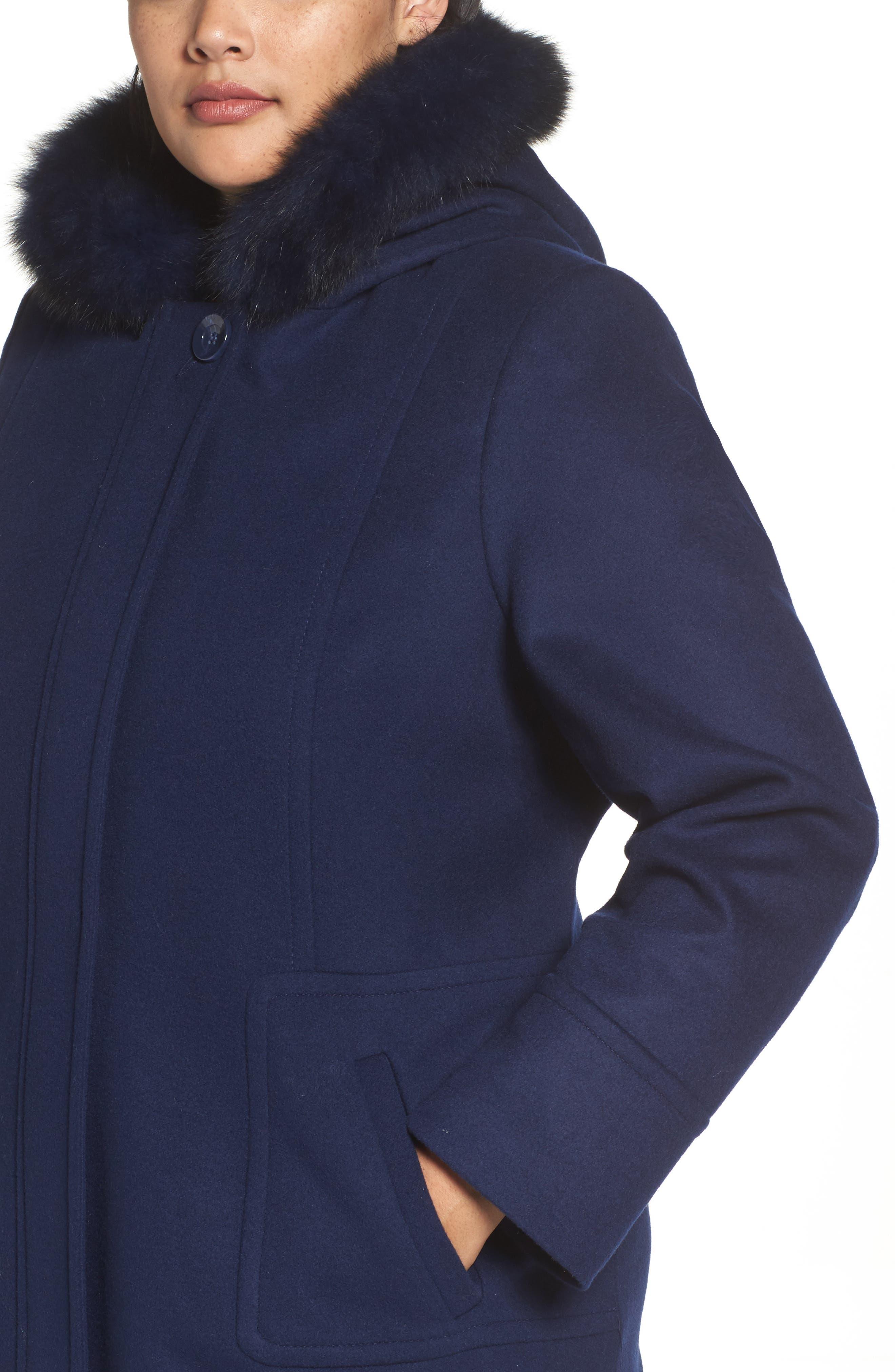 Alternate Image 4  - Sachi Hooded Wool Blend Coat with Genuine Fox Fur Trim (Plus Size)