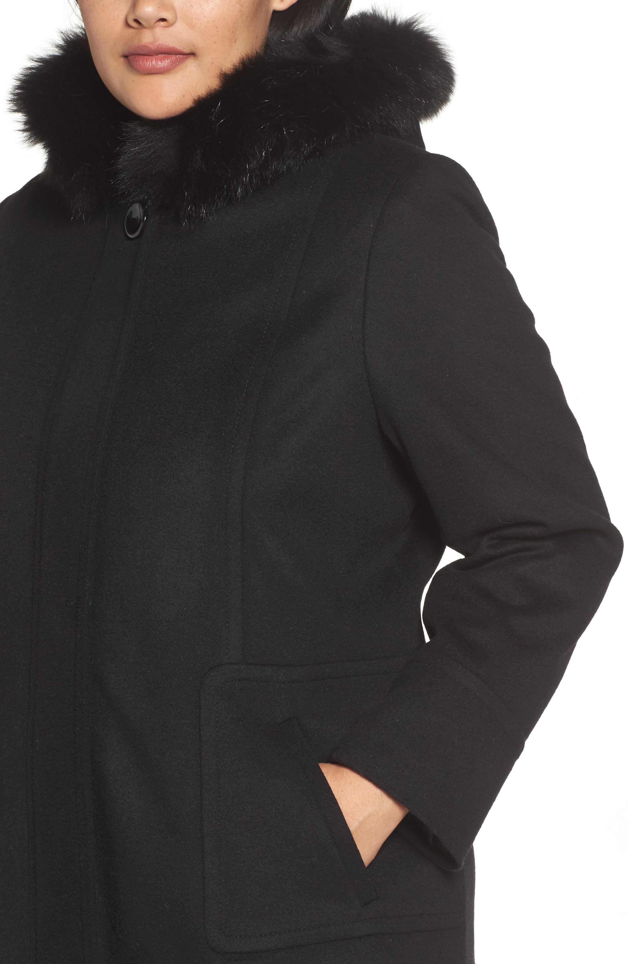 Alternate Image 4  - Sachi Hooded Wool Blend Coat with Genuine Fox Fur Trim (Regular & Petite)
