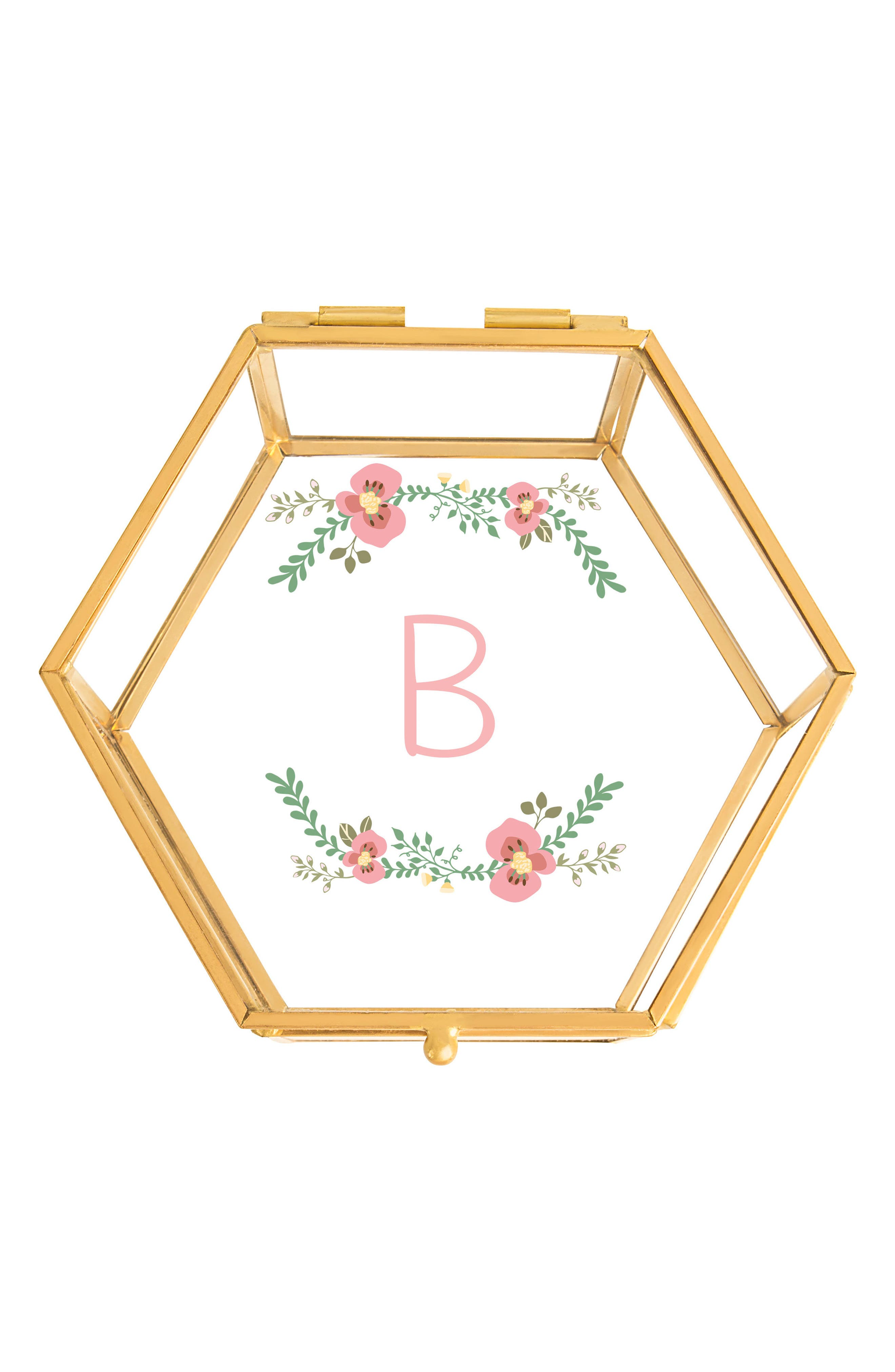 Floral Monogram Keepsake Box,                         Main,                         color, Gold - B