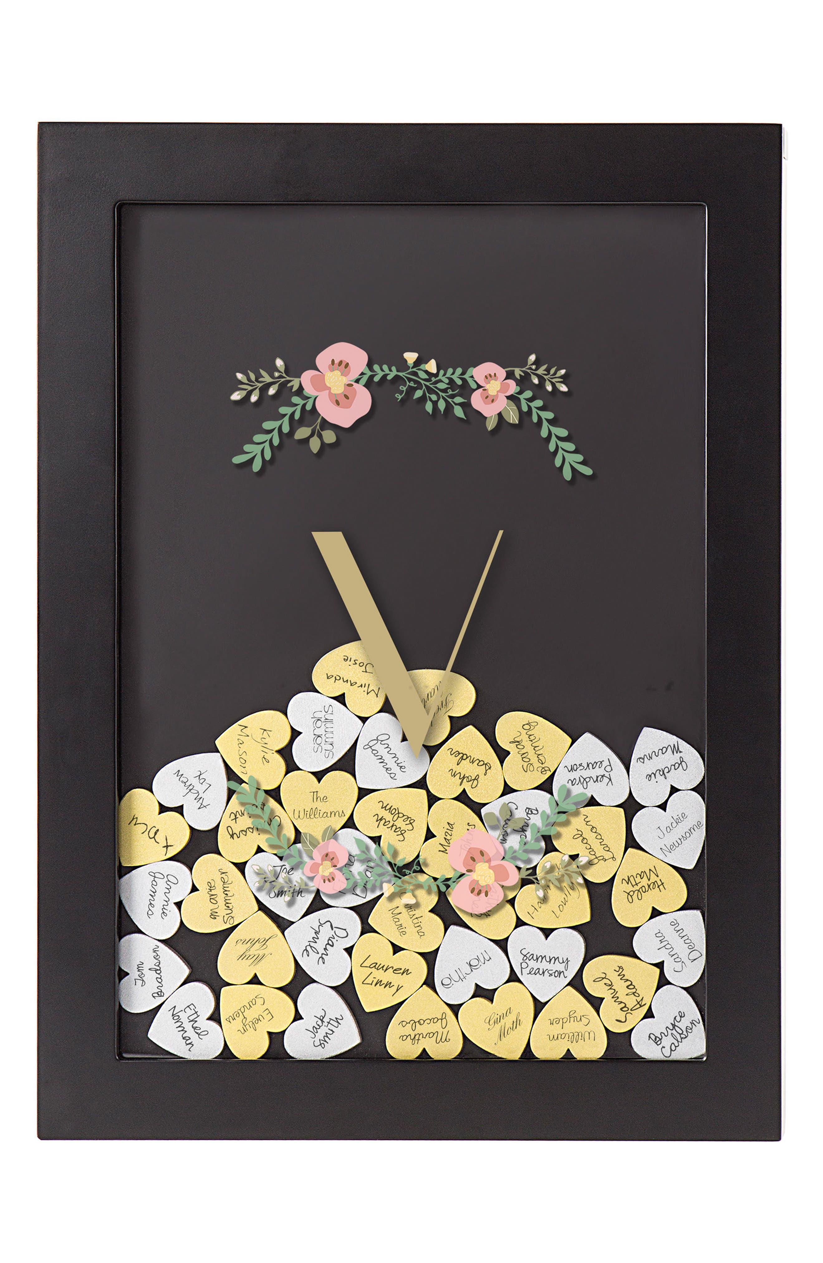 Monogram Heart Drop Guestbook,                         Main,                         color, Black - V
