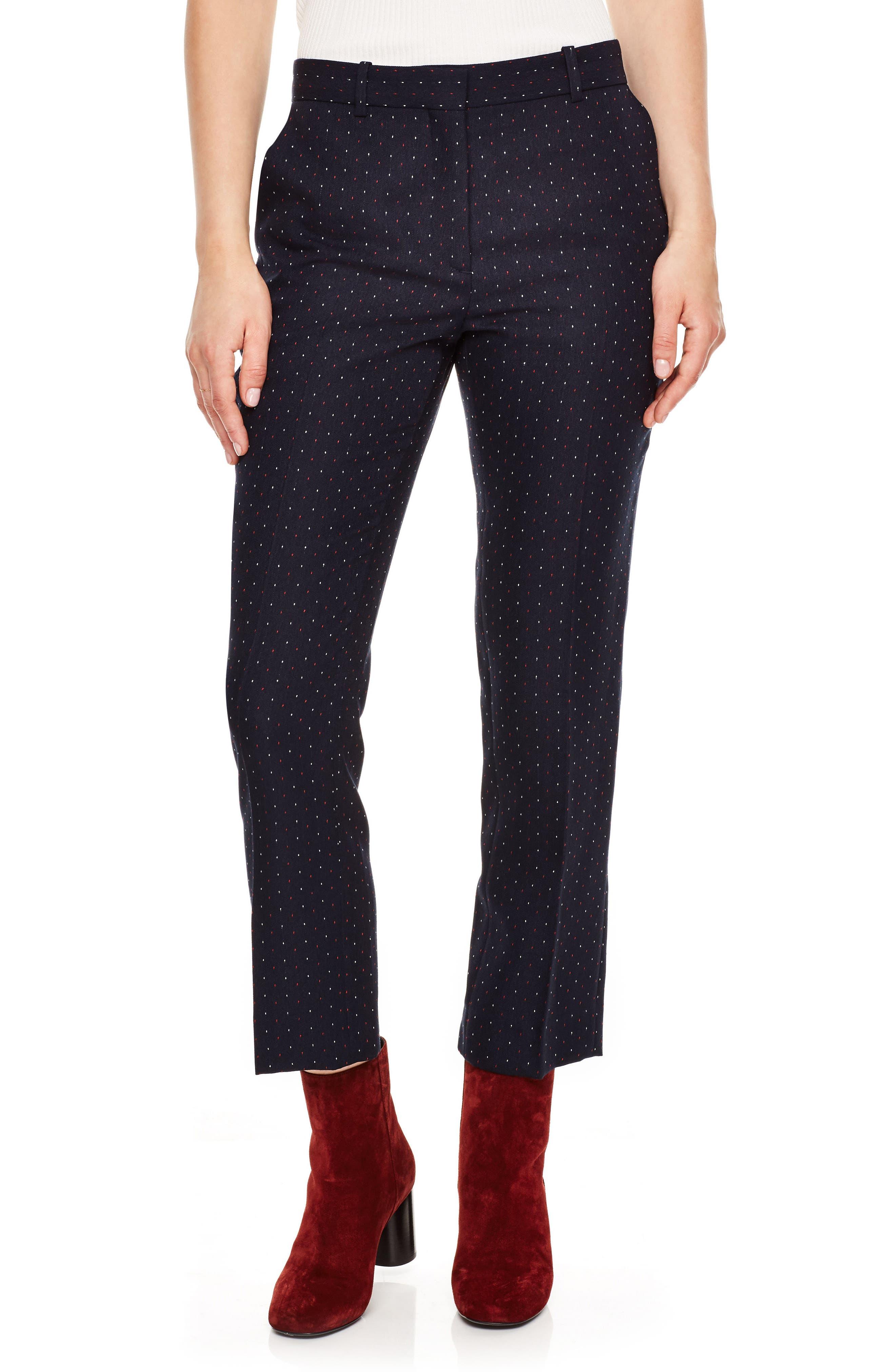 Polka Dot Crop Pants,                         Main,                         color, Navy