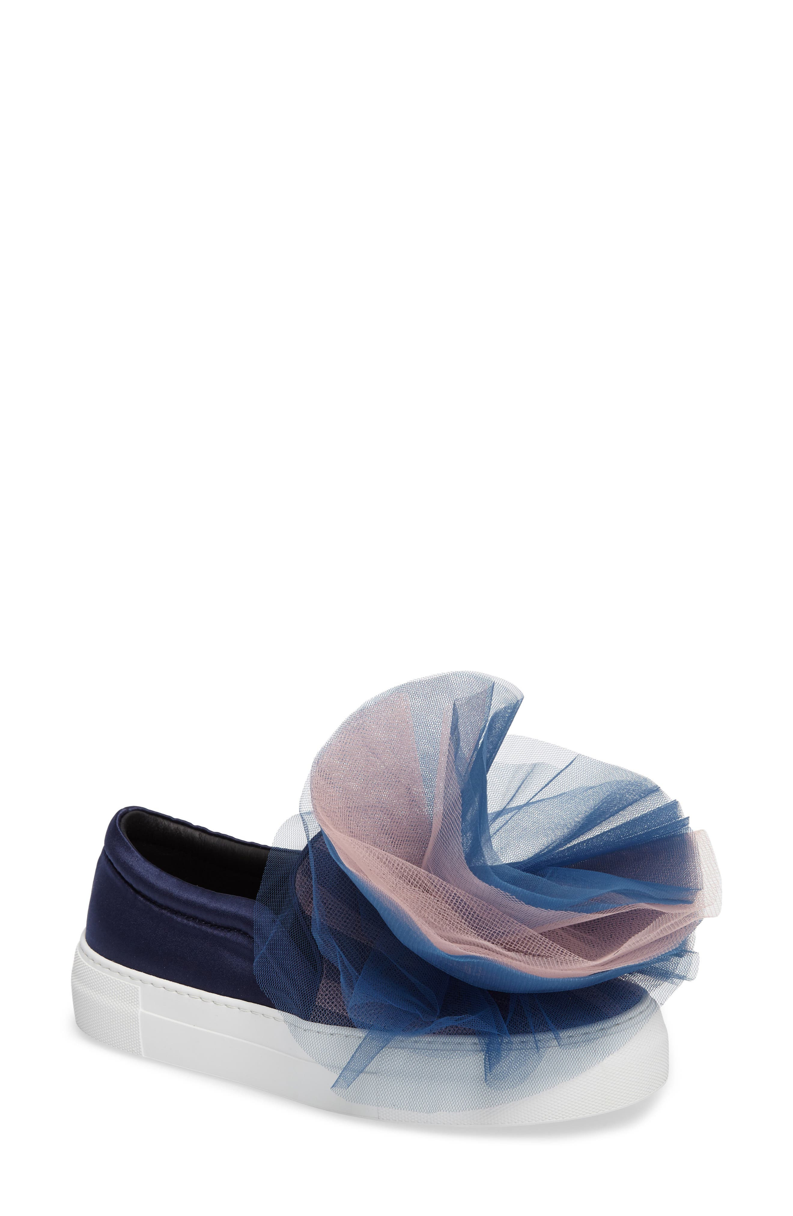 Tulle Slip-On Sneaker,                         Main,                         color, Navy Pink Combo