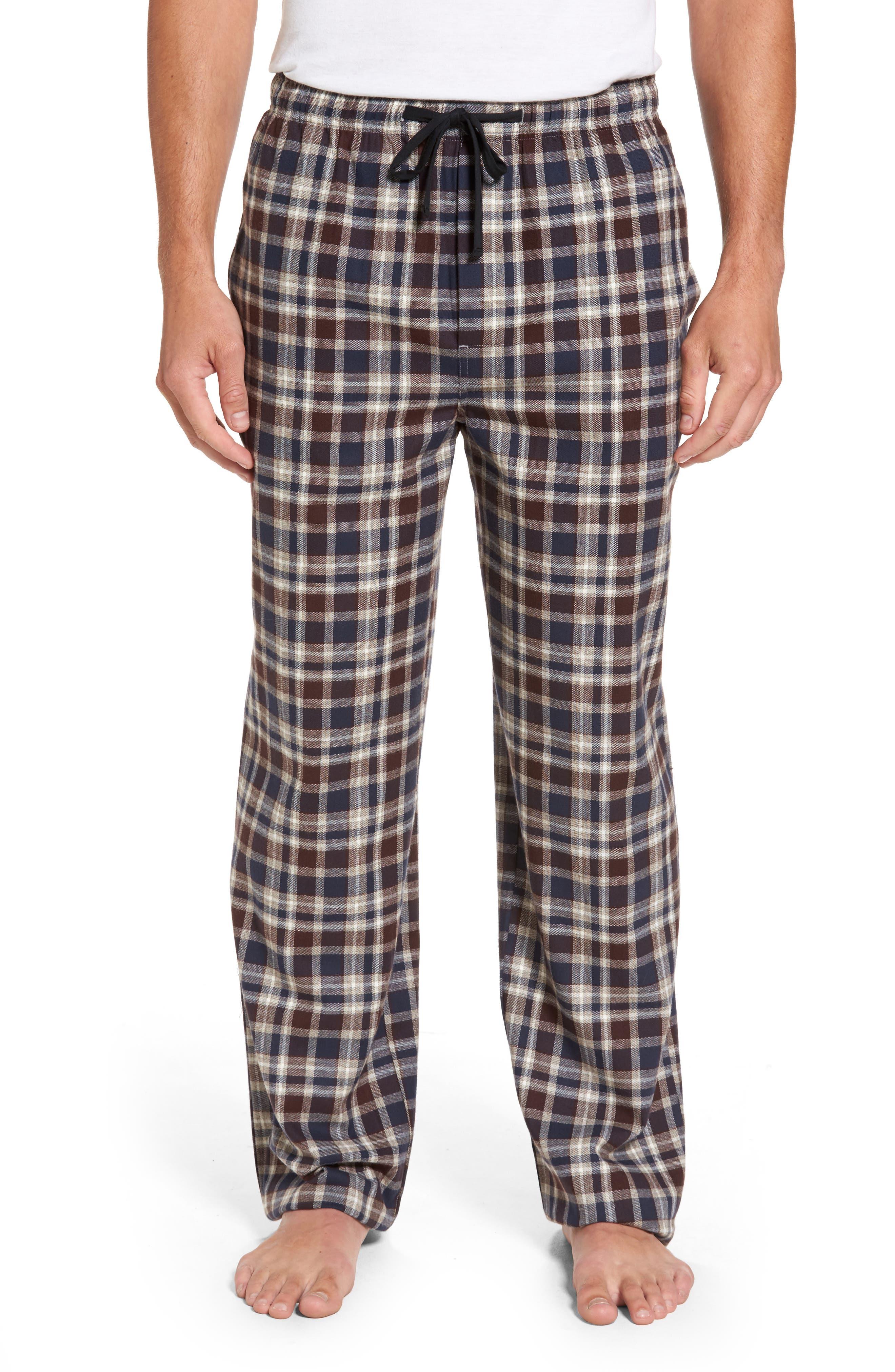 Bryson Plaid Flannel Lounge Pants,                         Main,                         color, Brown