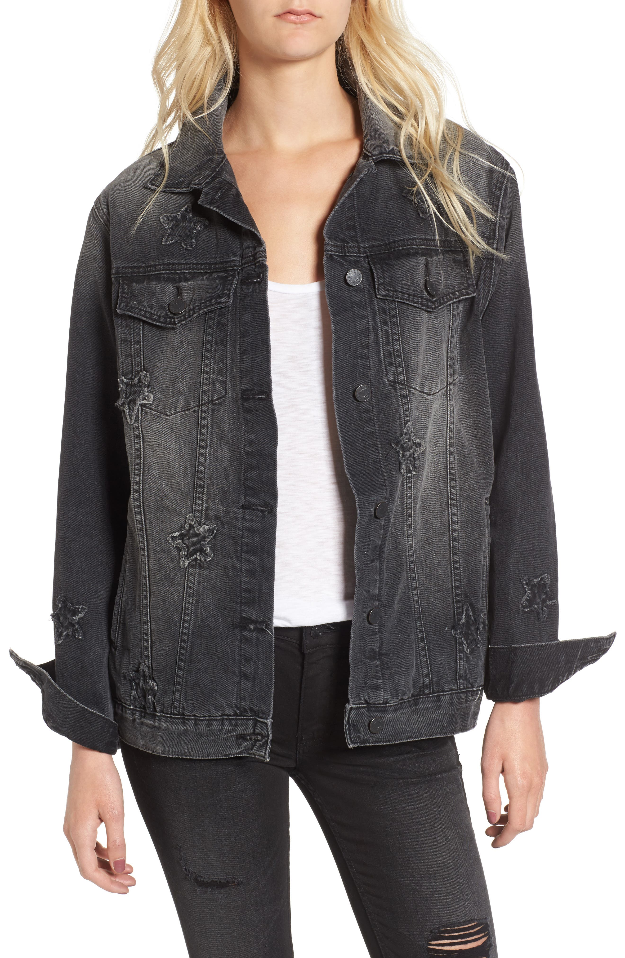 Knox Star Patch Denim Jacket,                         Main,                         color, Vintage Black