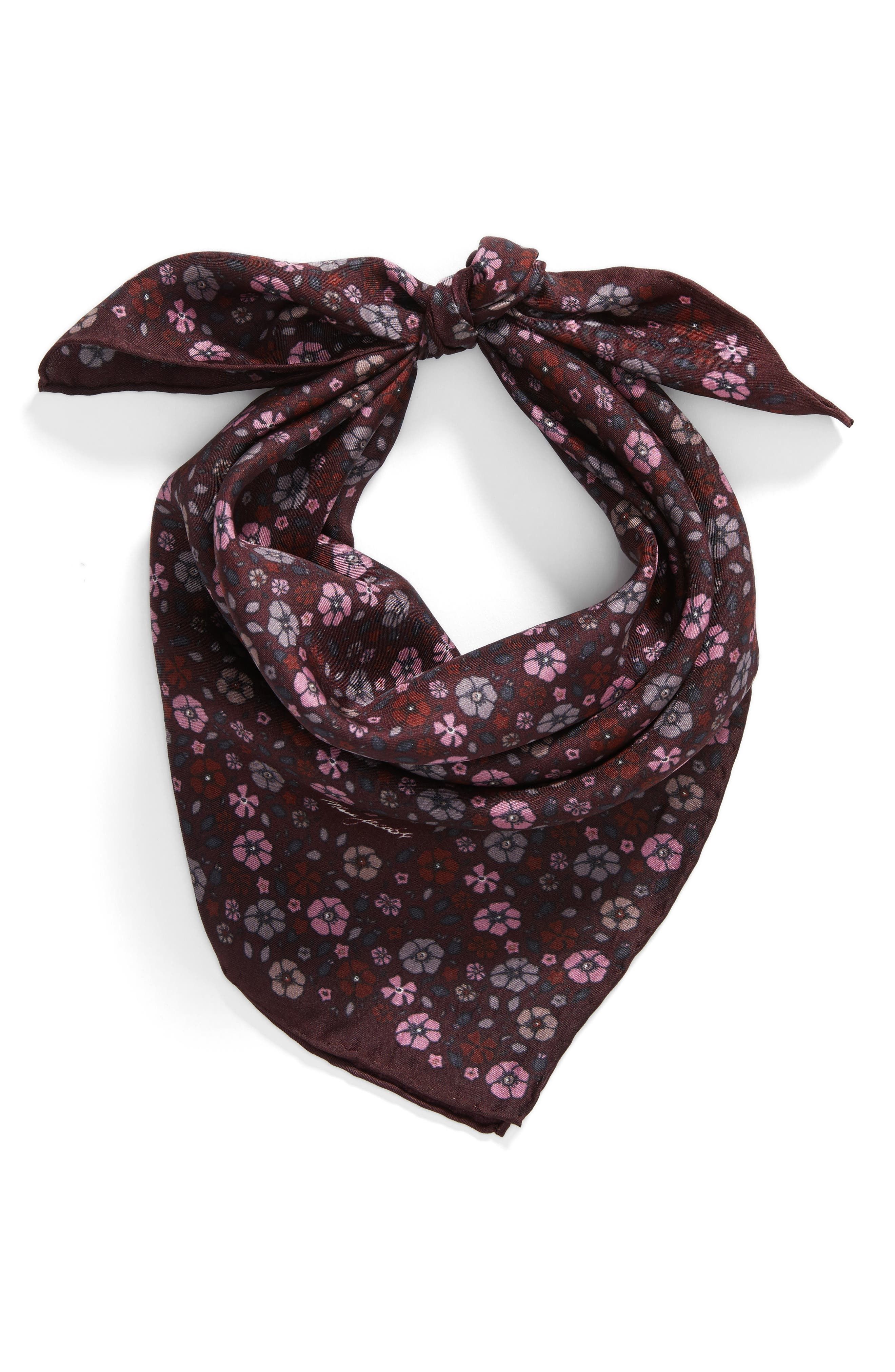 Floral Silk Bandana,                             Alternate thumbnail 3, color,                             Maroon Multi