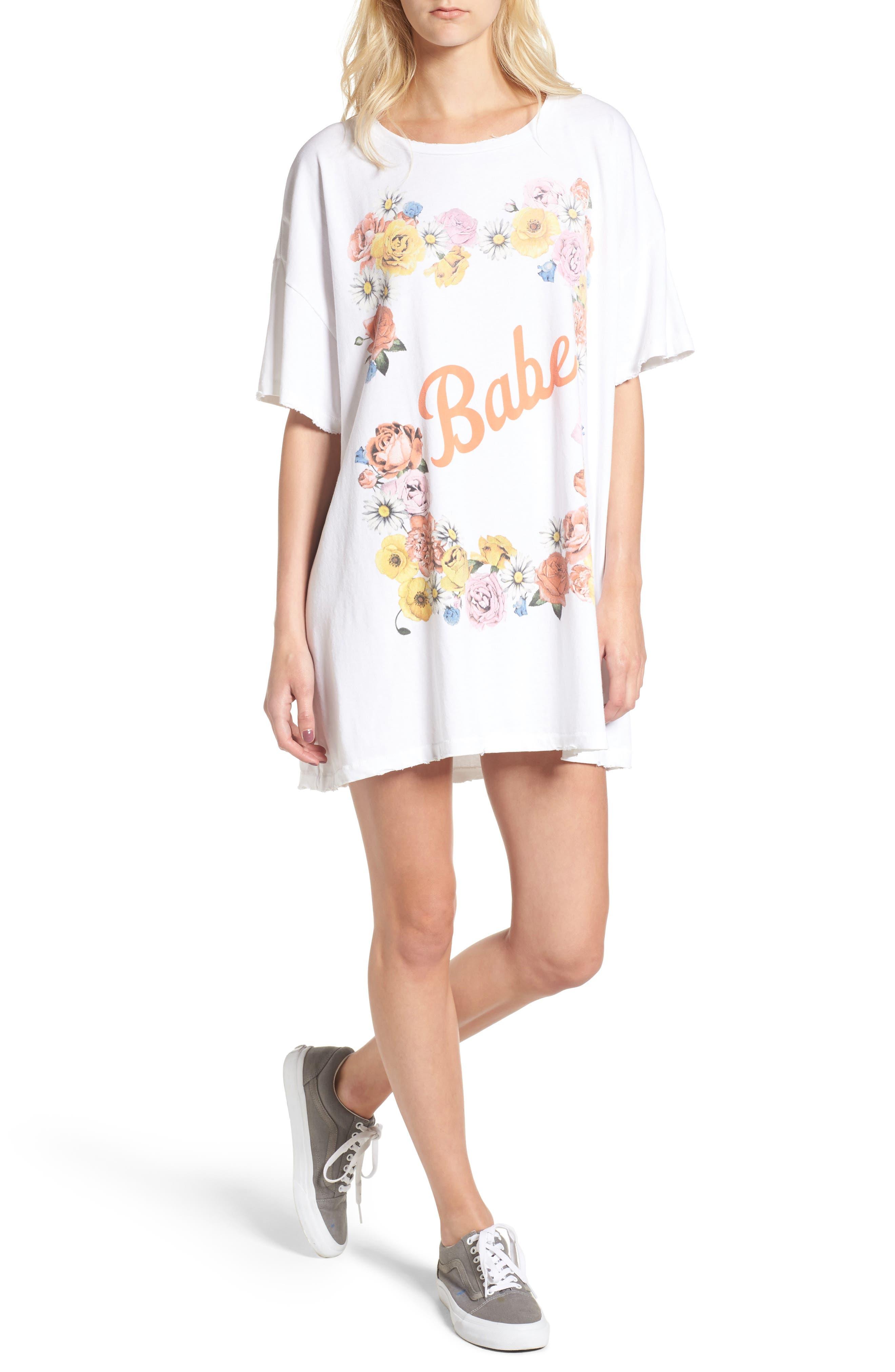 Babe T-Shirt Dress,                         Main,                         color, Clean White