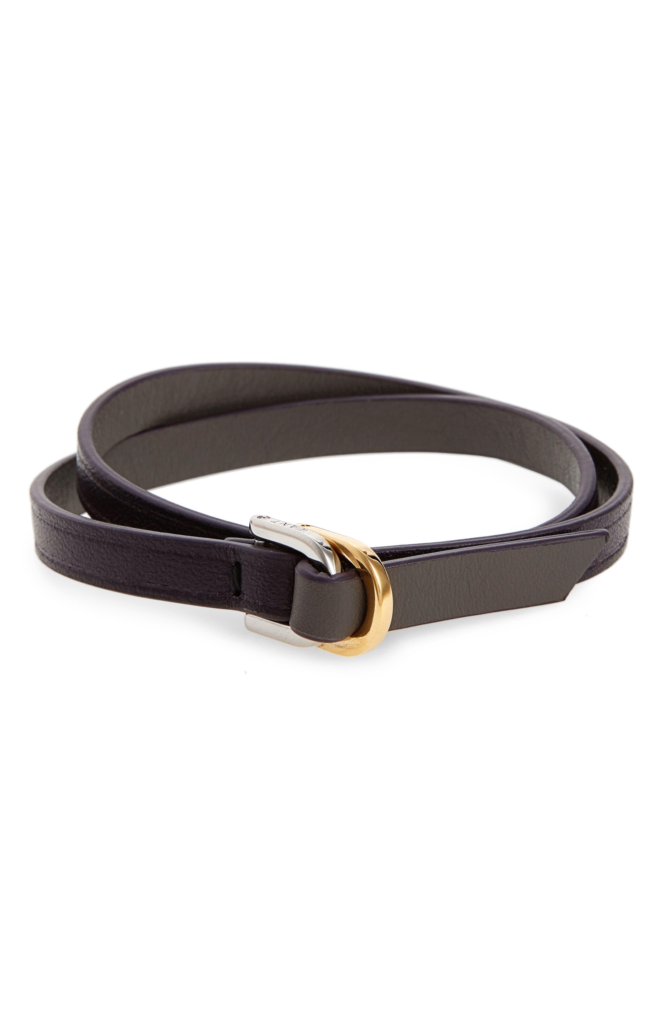 Arlanda Leather Double Wrap Bracelet,                         Main,                         color, Berry/ Graphite