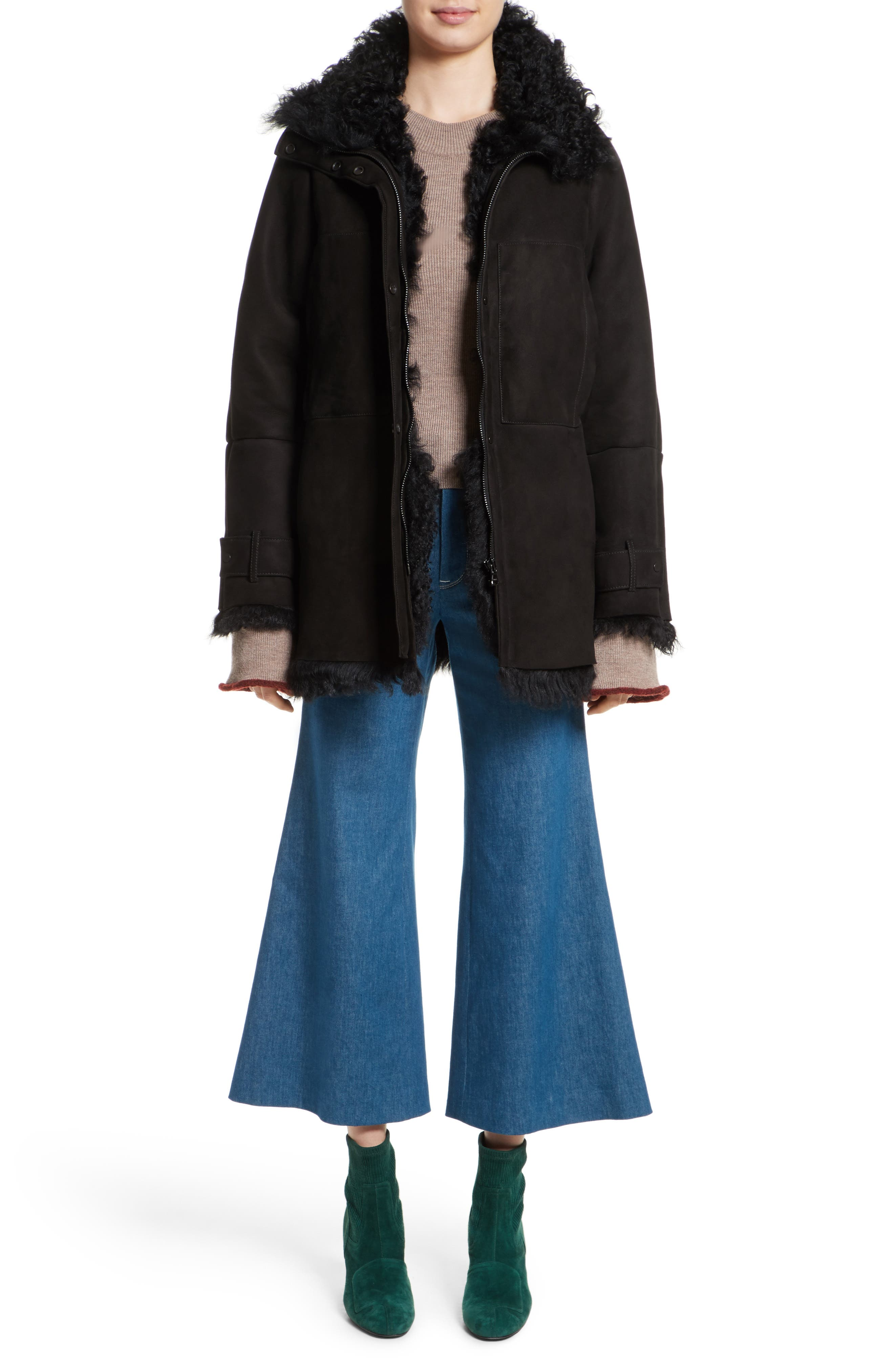 Crop Flare Jeans,                             Alternate thumbnail 7, color,                             Sea Green