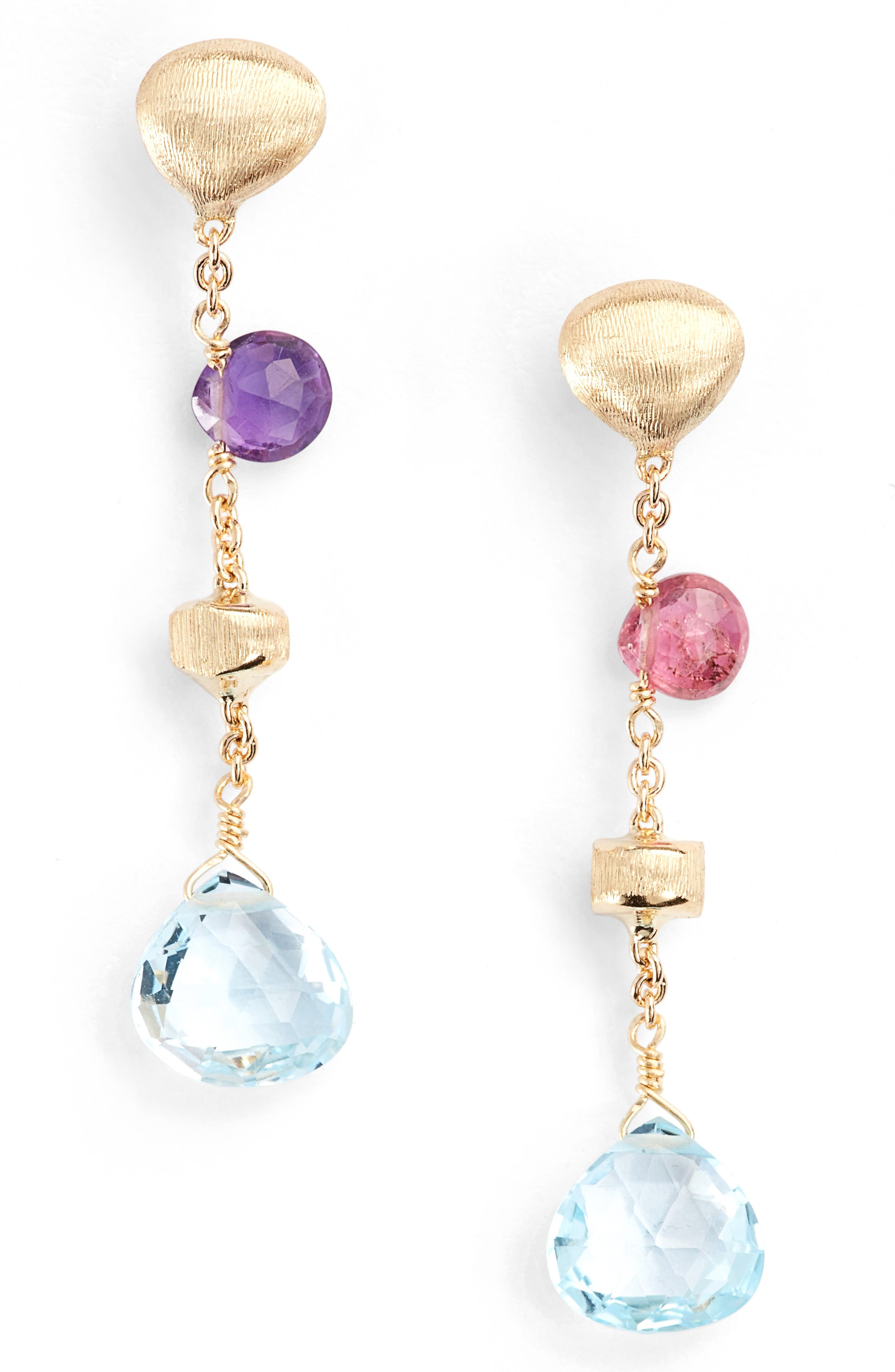 Paradise Semiprecious Stone Drop Earrings,                         Main,                         color, Yellow Gold