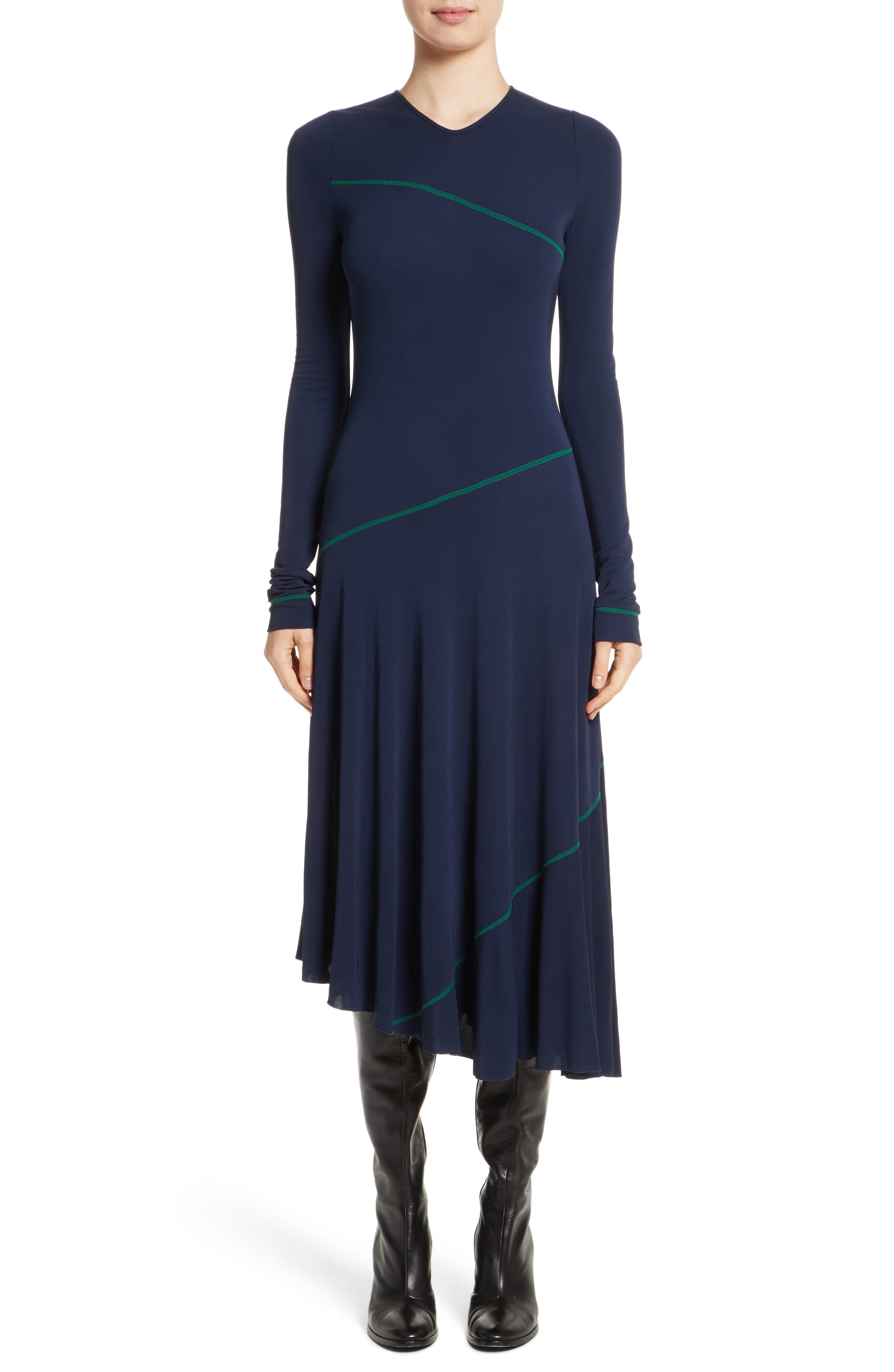 Jersey Fit & Flare Dress,                         Main,                         color, Navy/ Kelly Green