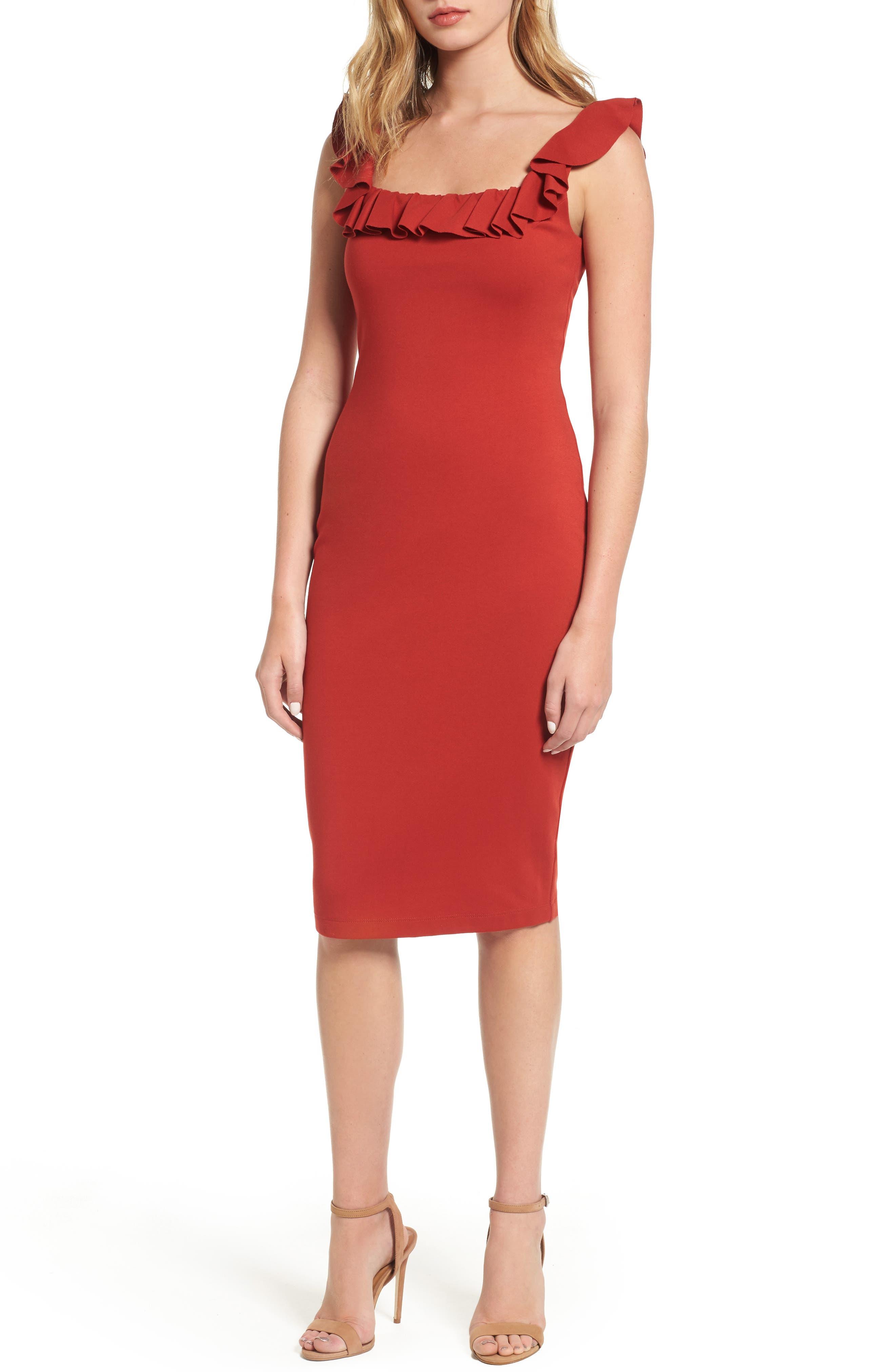 Wild Swan Body-Con Dress,                         Main,                         color, Spice