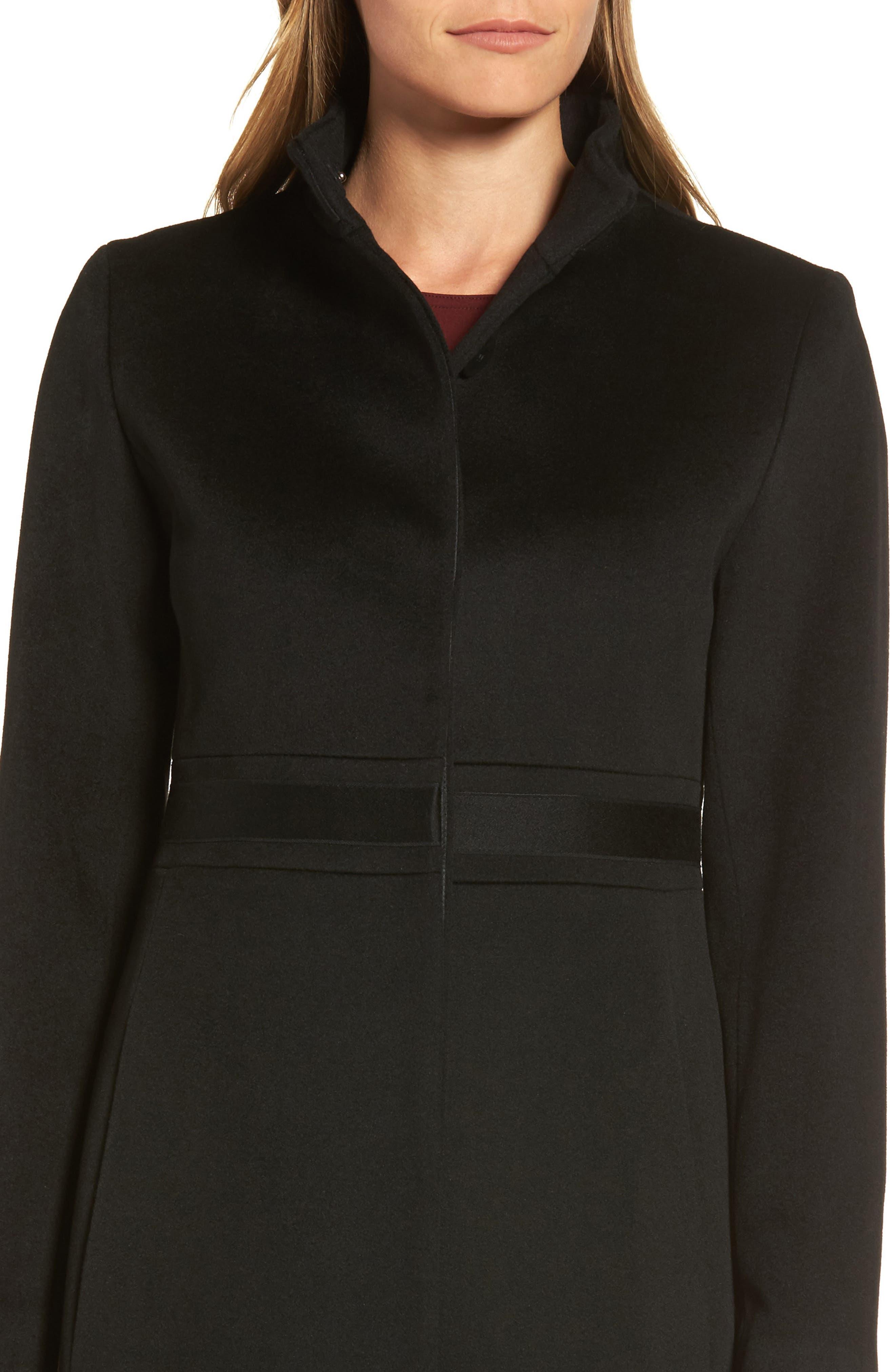 Appliqué Wool Coat,                             Alternate thumbnail 4, color,                             Black