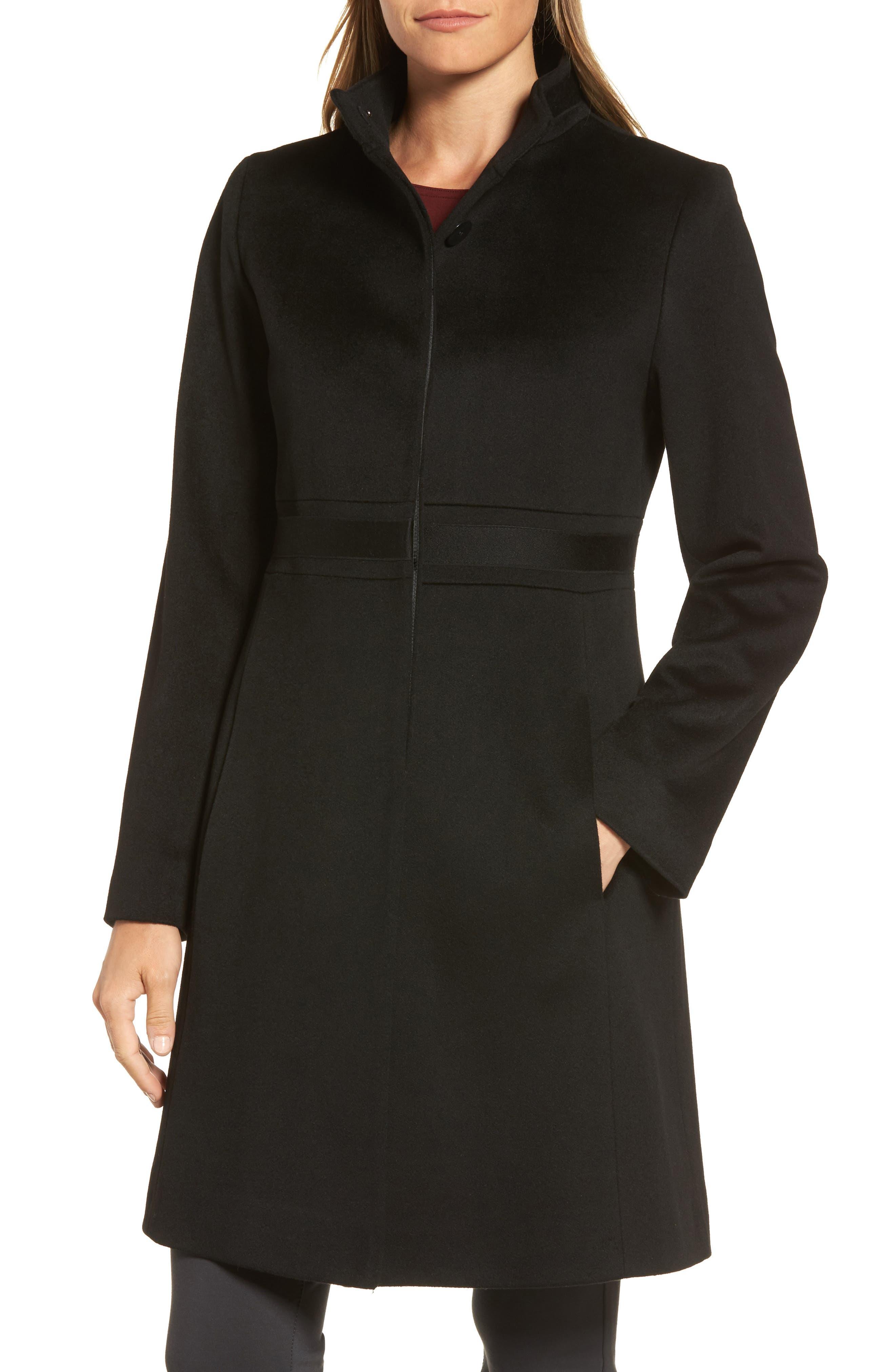 Appliqué Wool Coat,                             Main thumbnail 1, color,                             Black