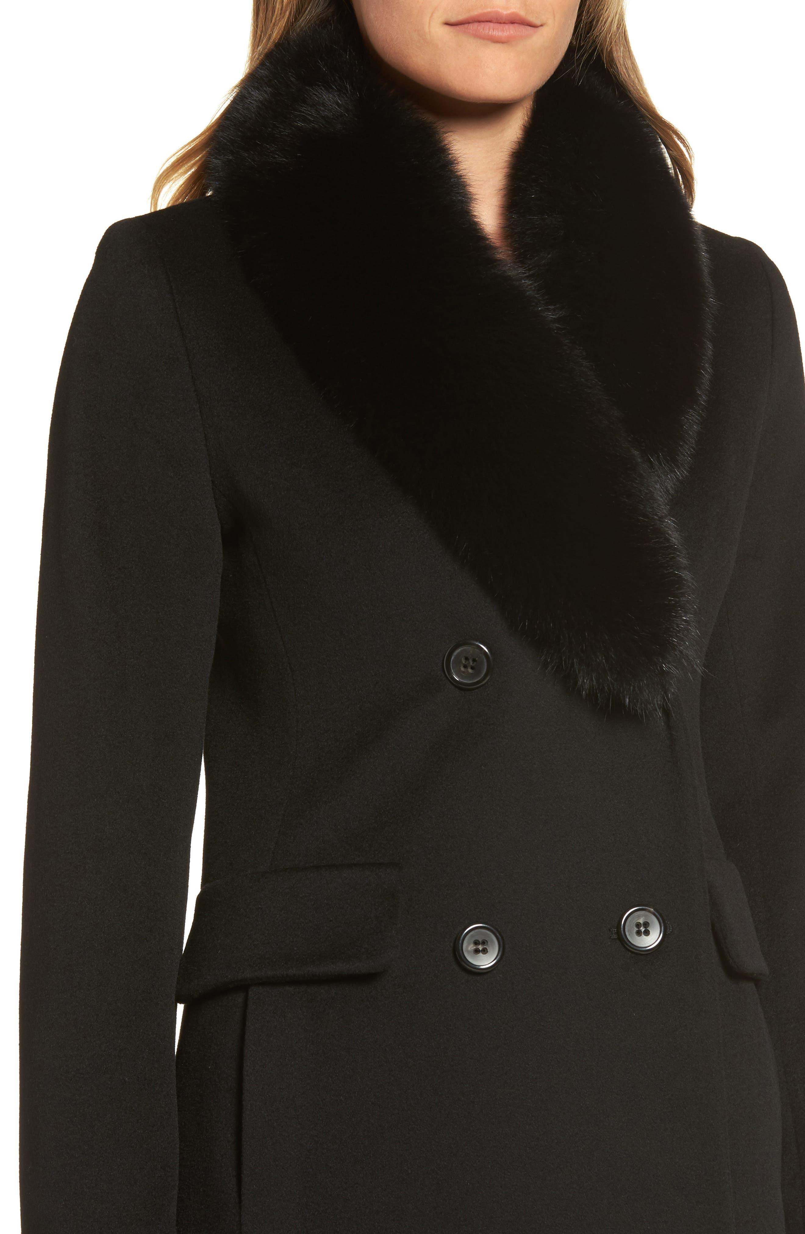 Alternate Image 4  - Fleurette Loro Piana Wool Coat with Genuine Fox Fur Collar