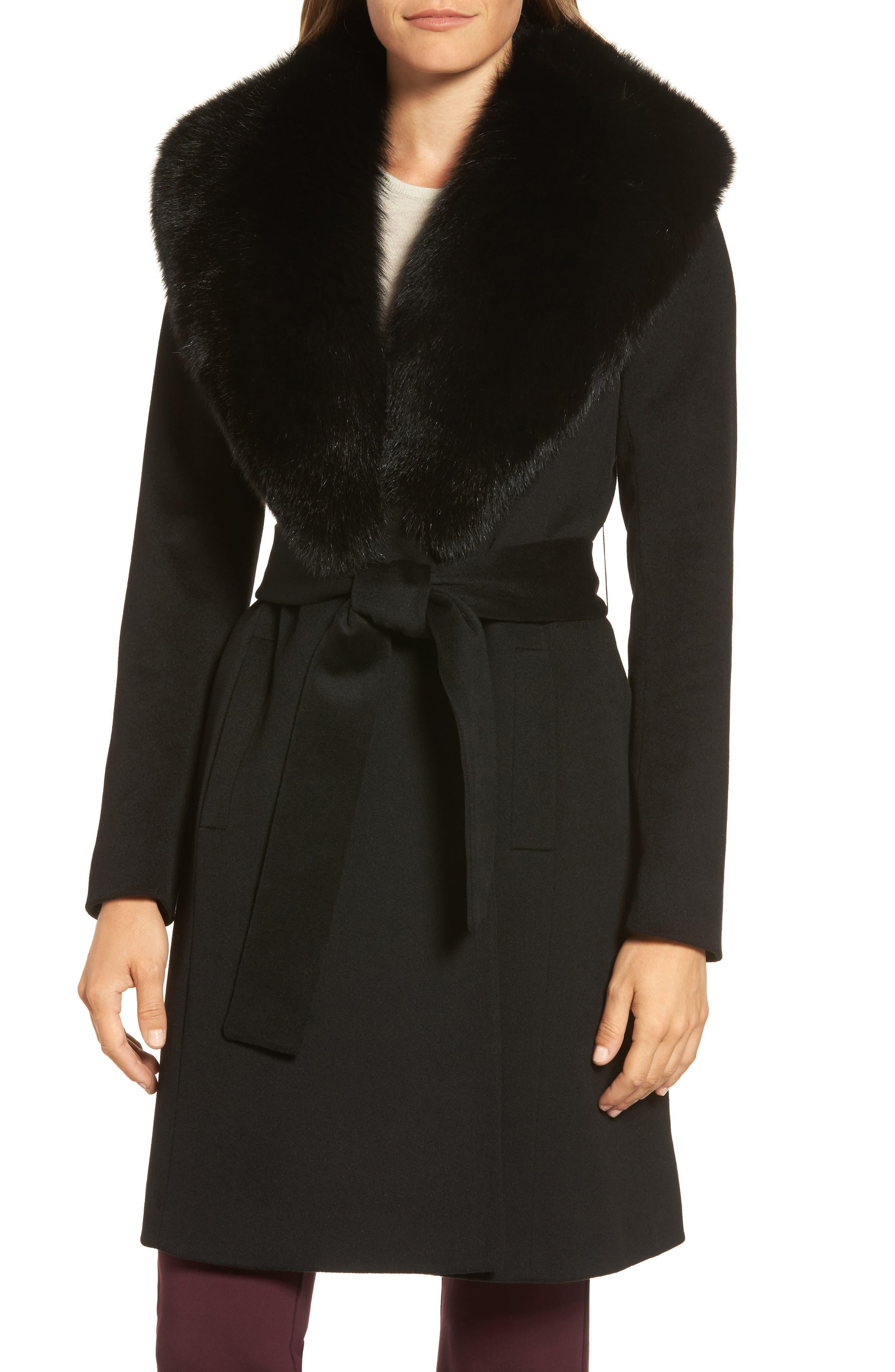 Fleurette Genuine Fox Fur Shawl Collar Loro Piana Wool Wrap Coat