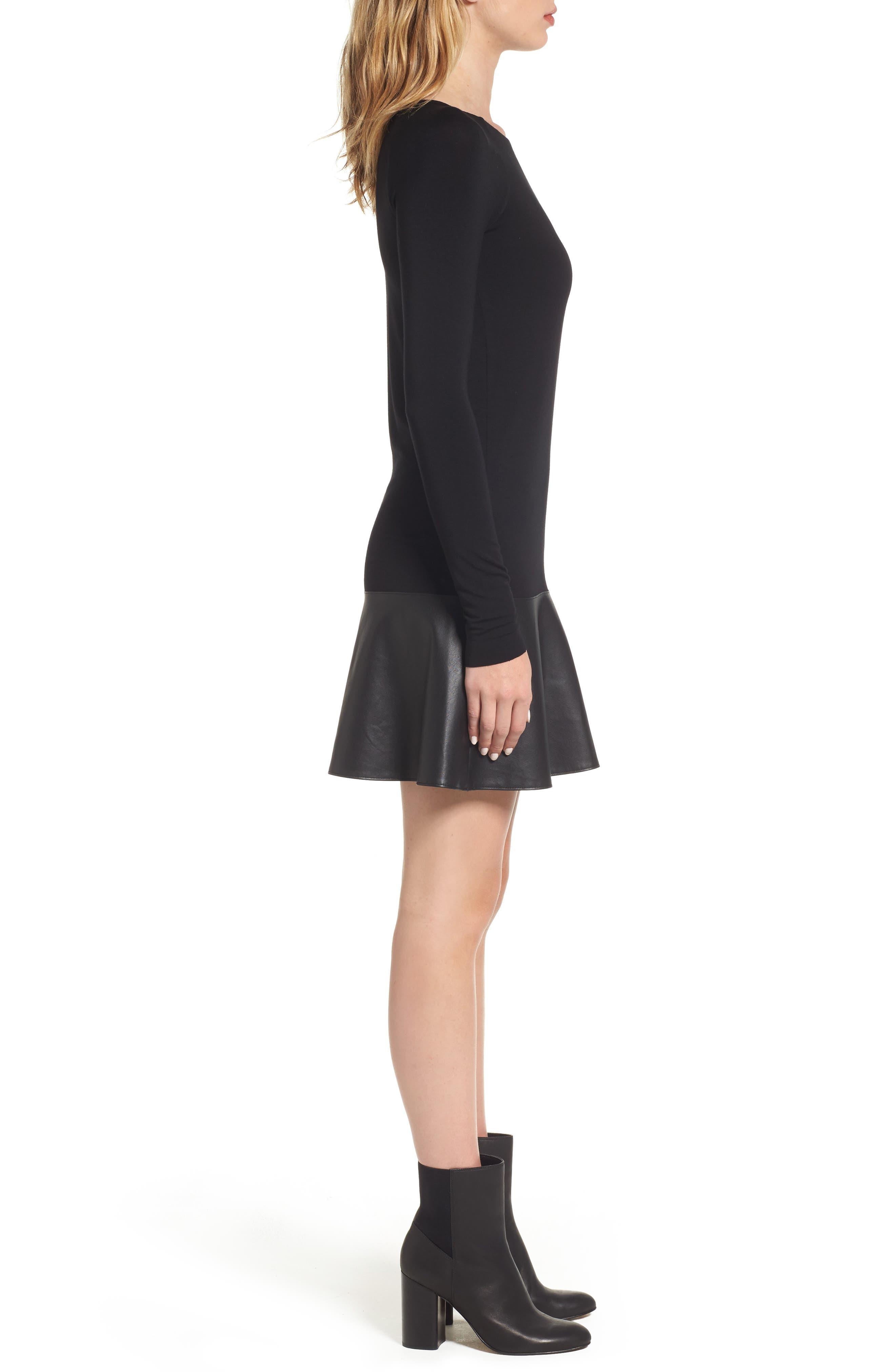 Georgina Faux Leather & Jersey Dress,                             Alternate thumbnail 3, color,                             Black