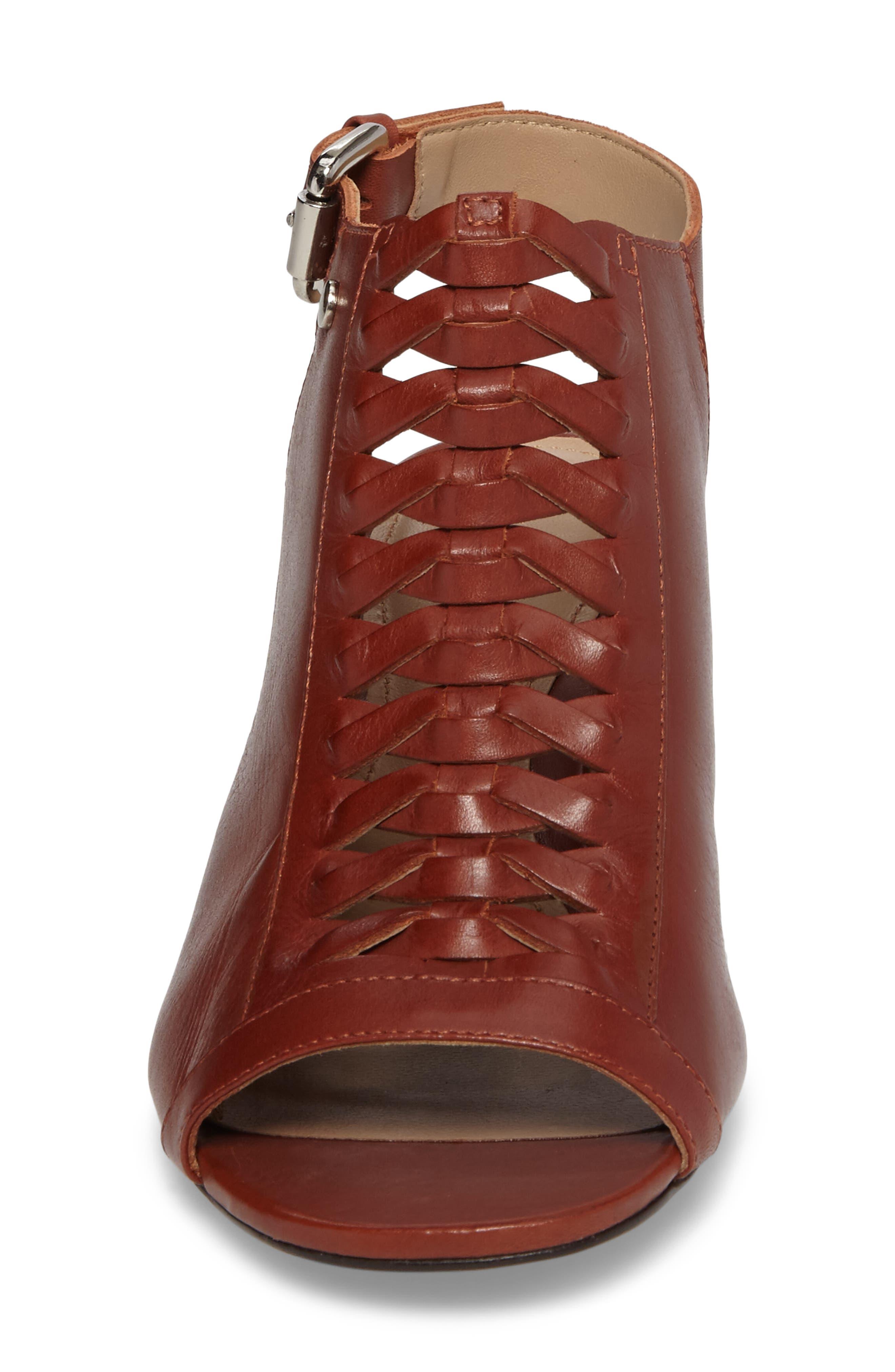 Dallas Woven Sandal,                             Alternate thumbnail 4, color,                             Cognac Leather