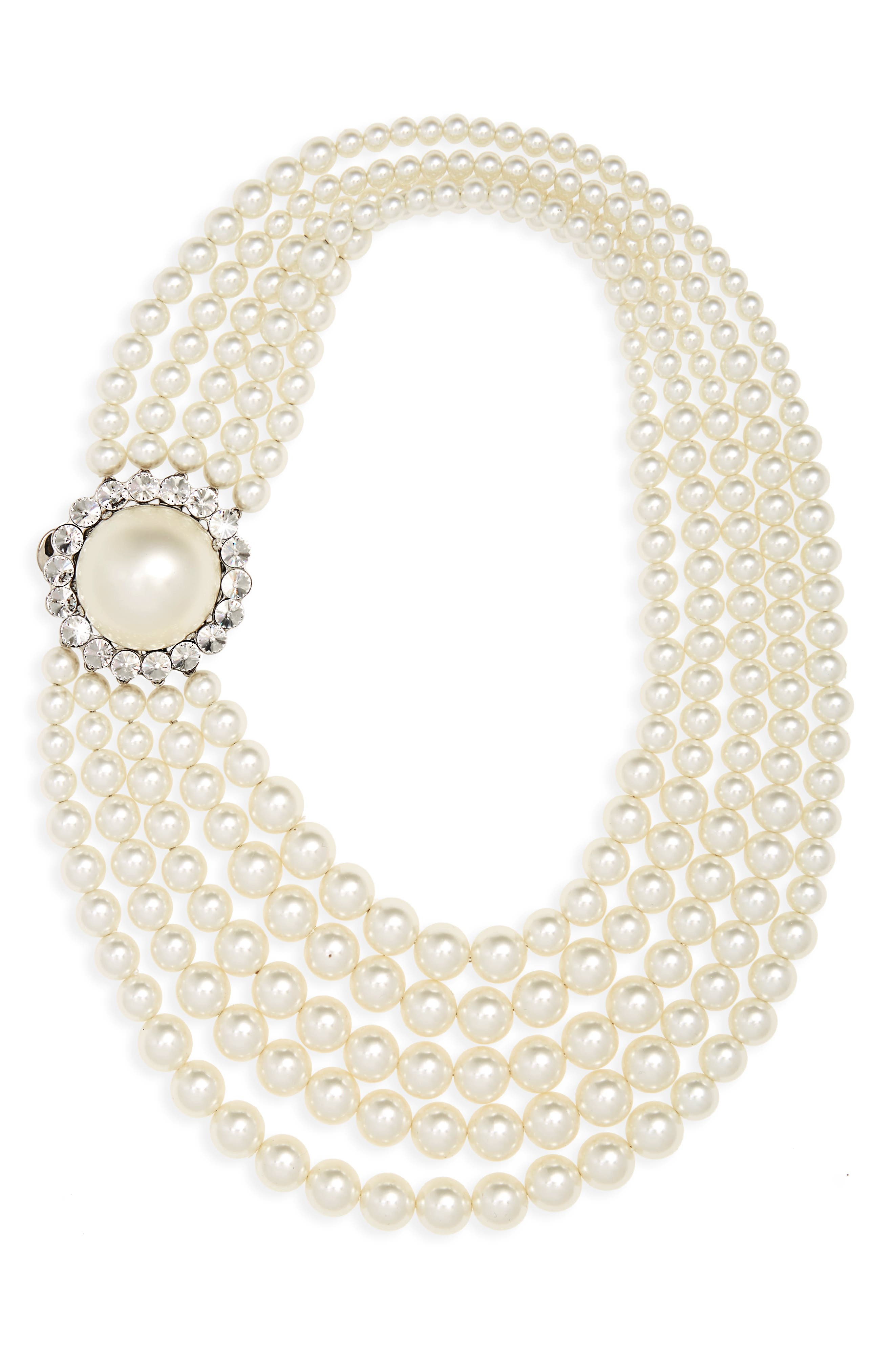 Multistrand Imitation Pearl Necklace,                             Main thumbnail 1, color,                             Pearl