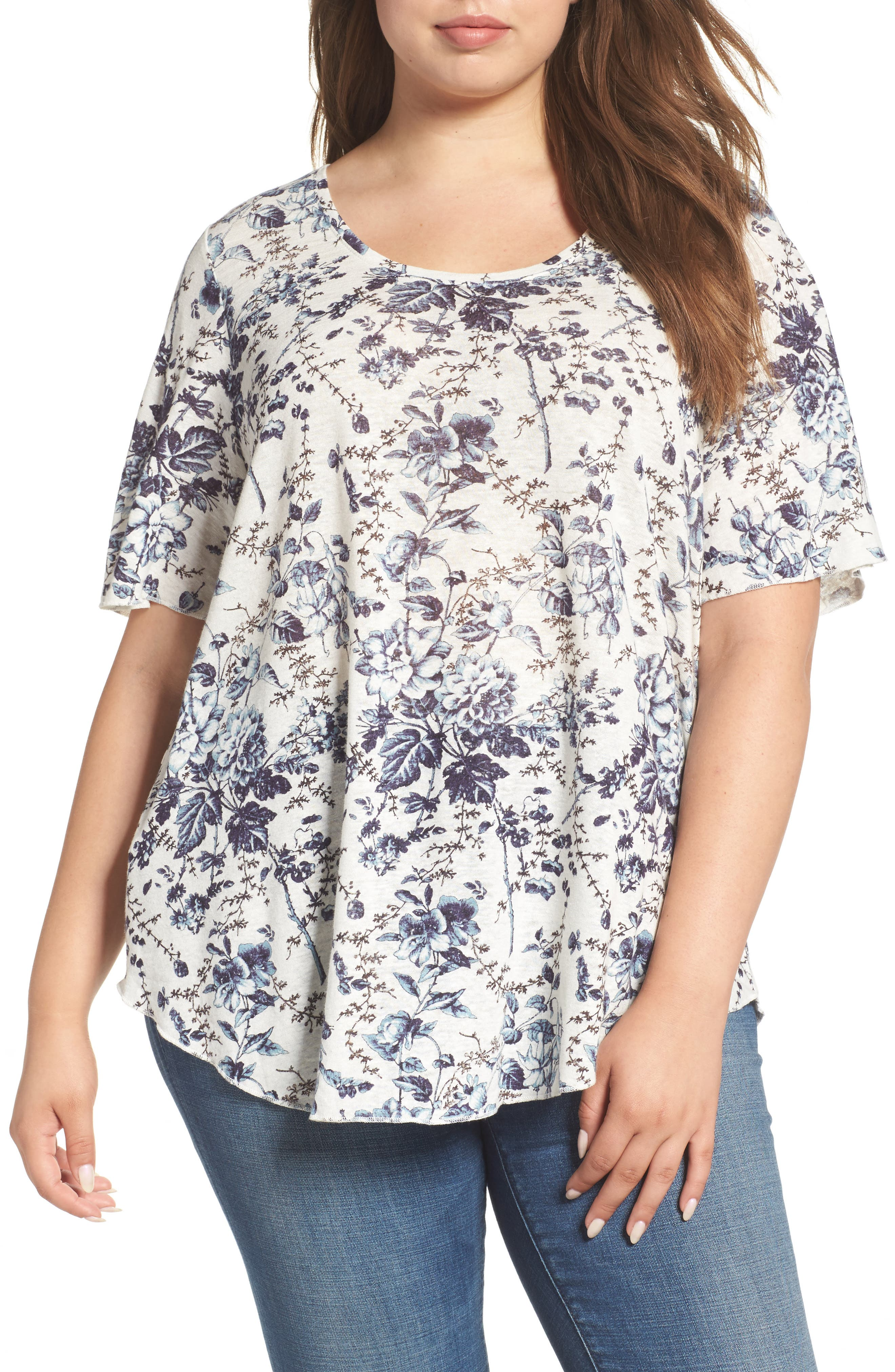 Lucky Brand Floral Print Tee (Plus Size)