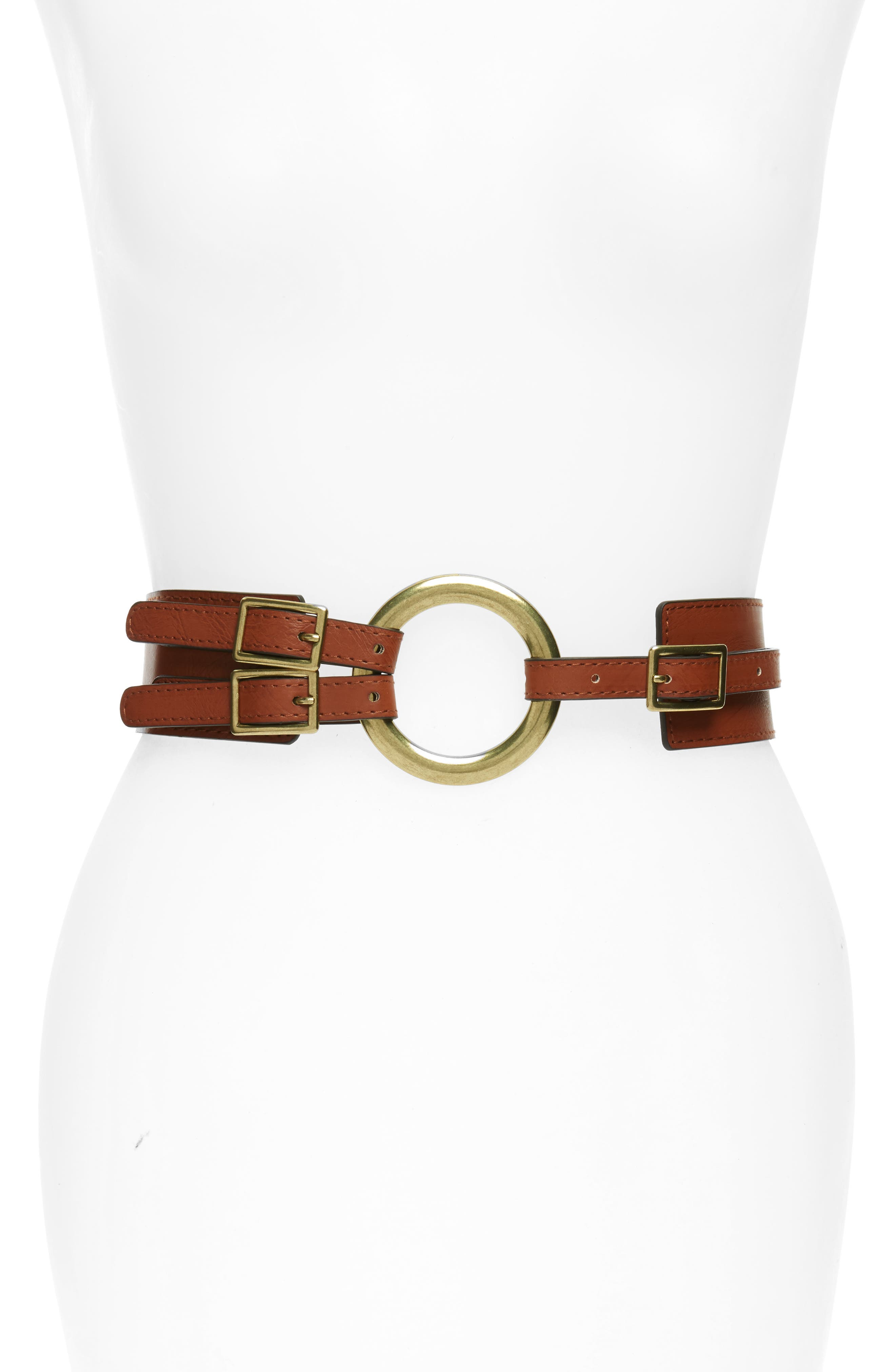 Accessory Collective Round Buckle Faux Leather Belt