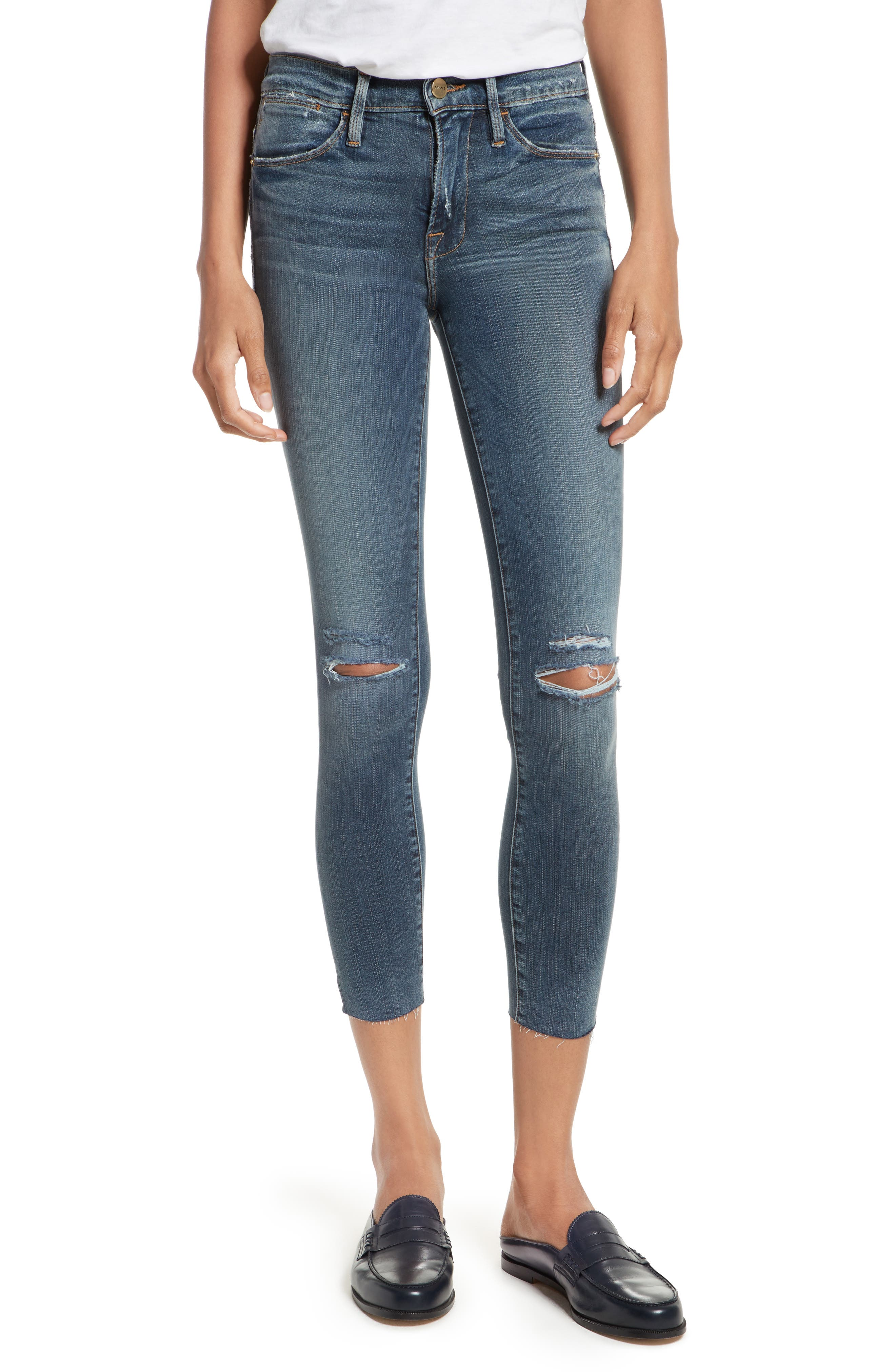 FRAME Le High Ankle Skinny Jeans (Waterhaven)