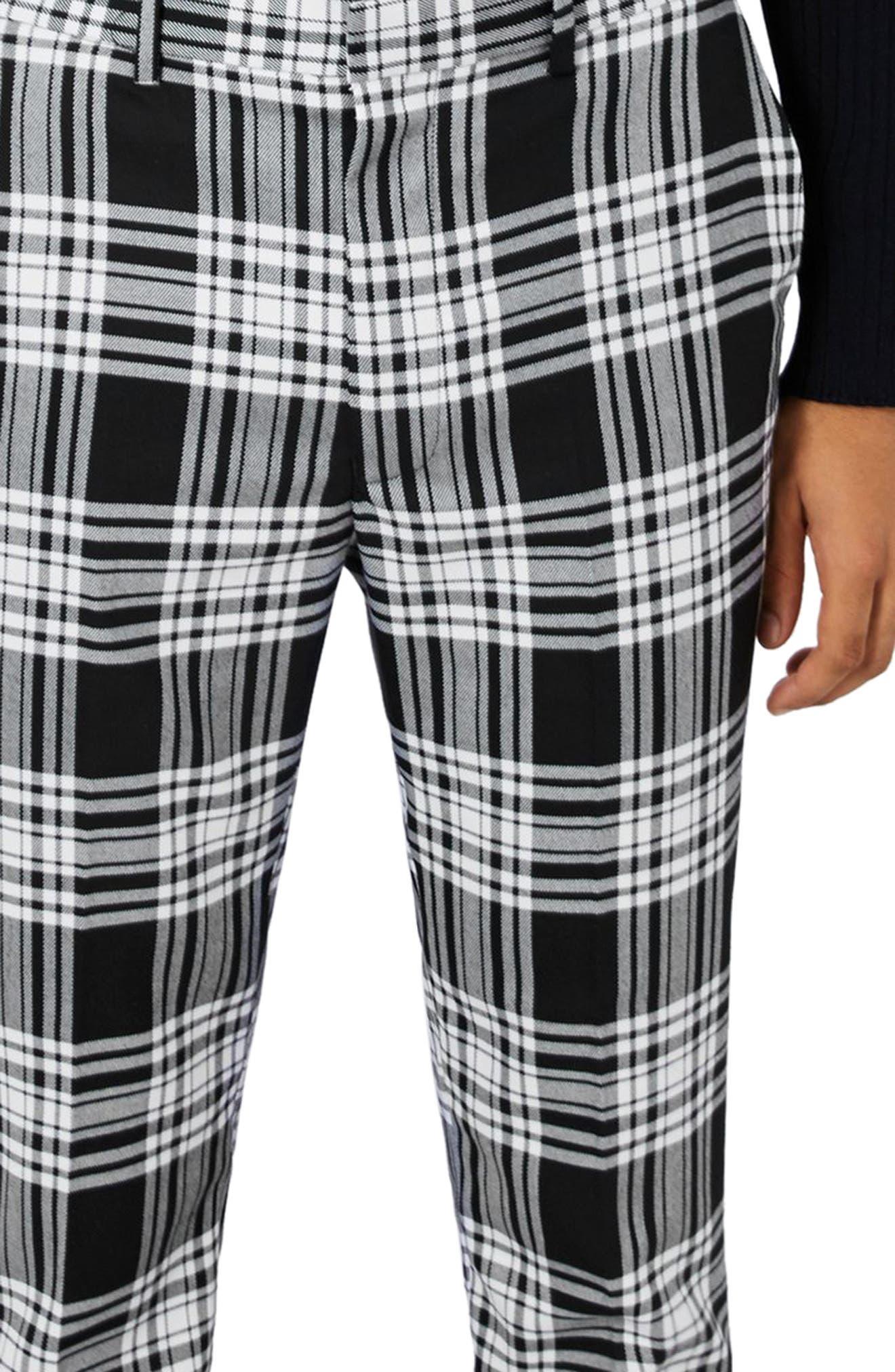Plaid Ultra Skinny Fit Crop Trousers,                             Alternate thumbnail 4, color,                             Black Multi