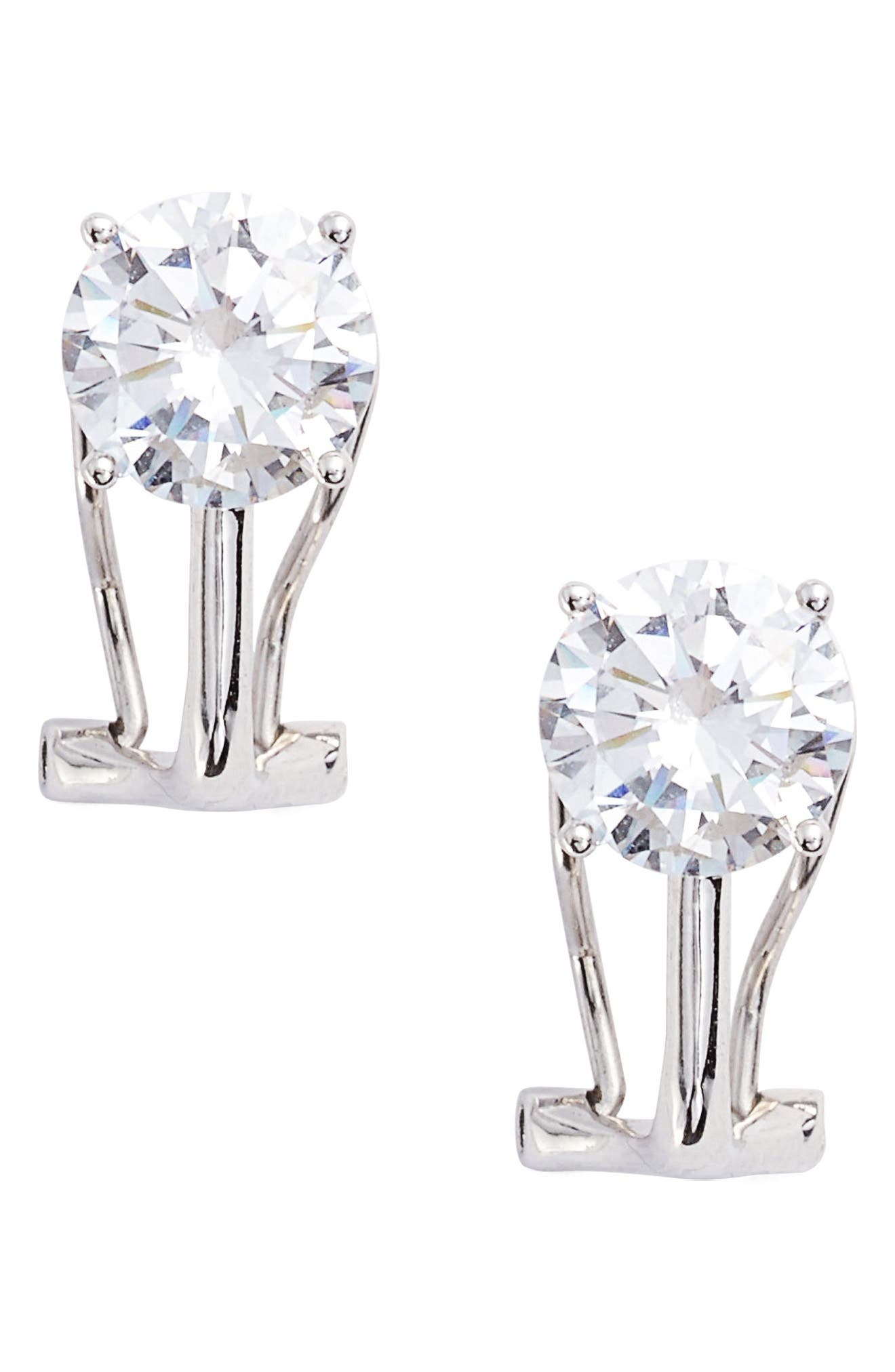 Clip-On Stud Earrings,                         Main,                         color, Silver