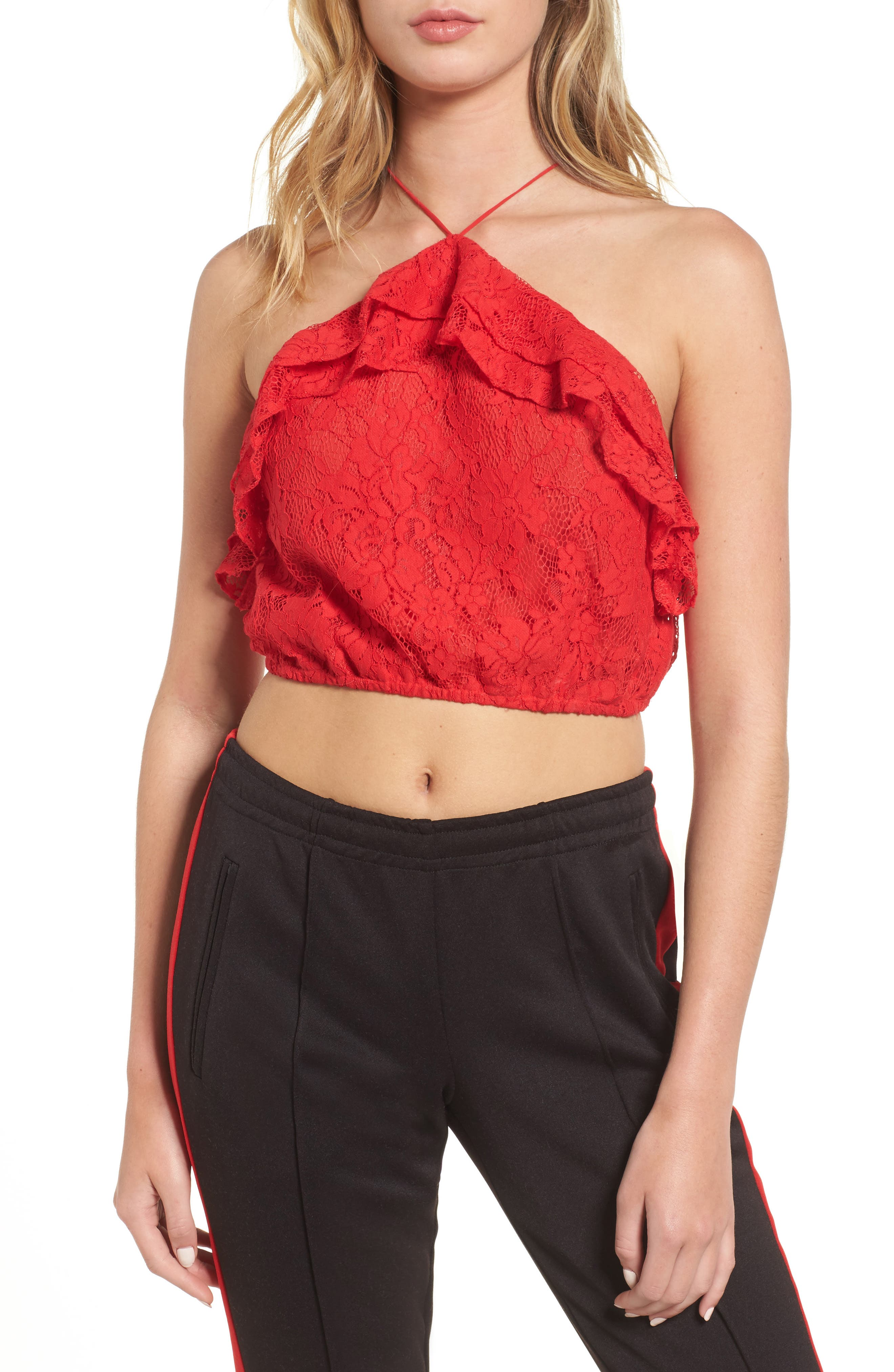Goldie Lace Halter Top,                         Main,                         color, Red