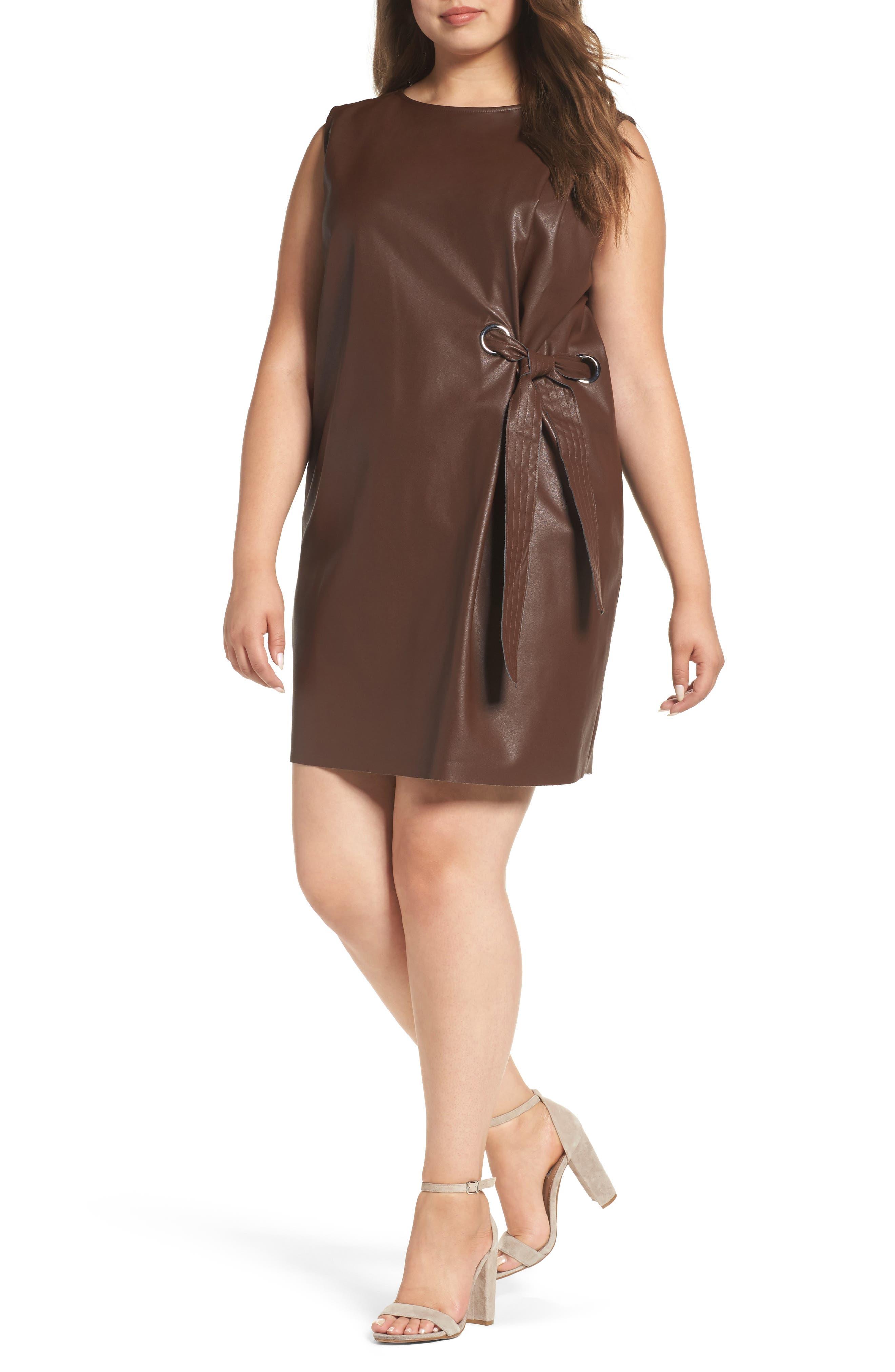 ELVI Faux Leather Shift Dress (Plus Size)
